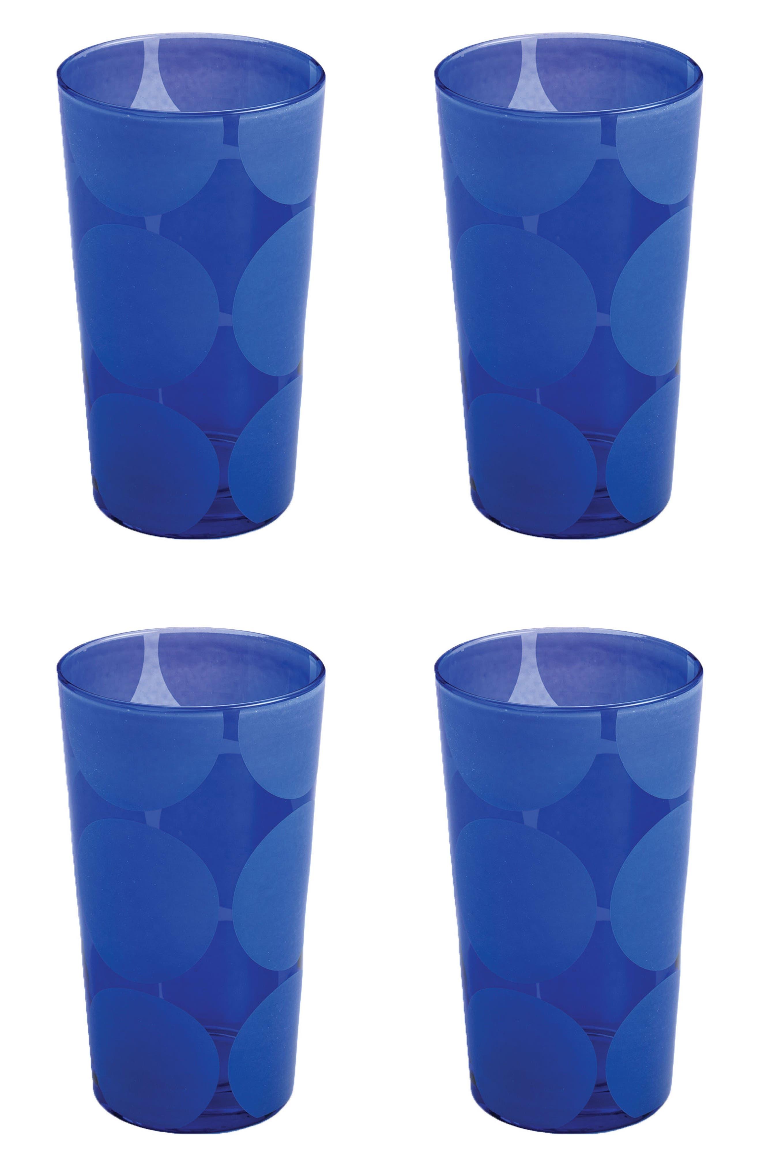 Santorini Set of 4 Glass Tumblers,                         Main,                         color, Blue