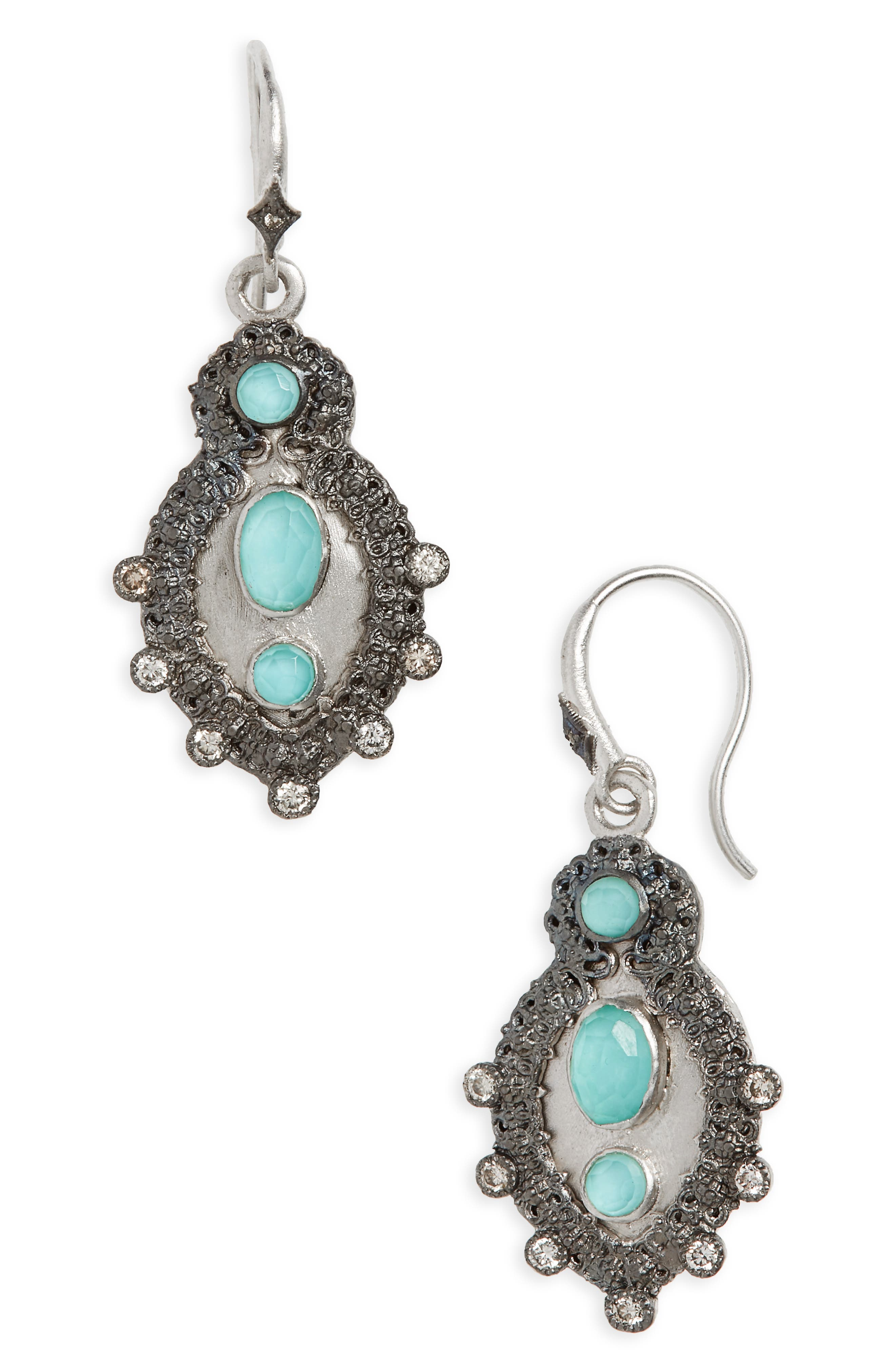 New World Turquoise Doublet Drop Earrings,                             Main thumbnail 1, color,                             Silver/ Turquoise
