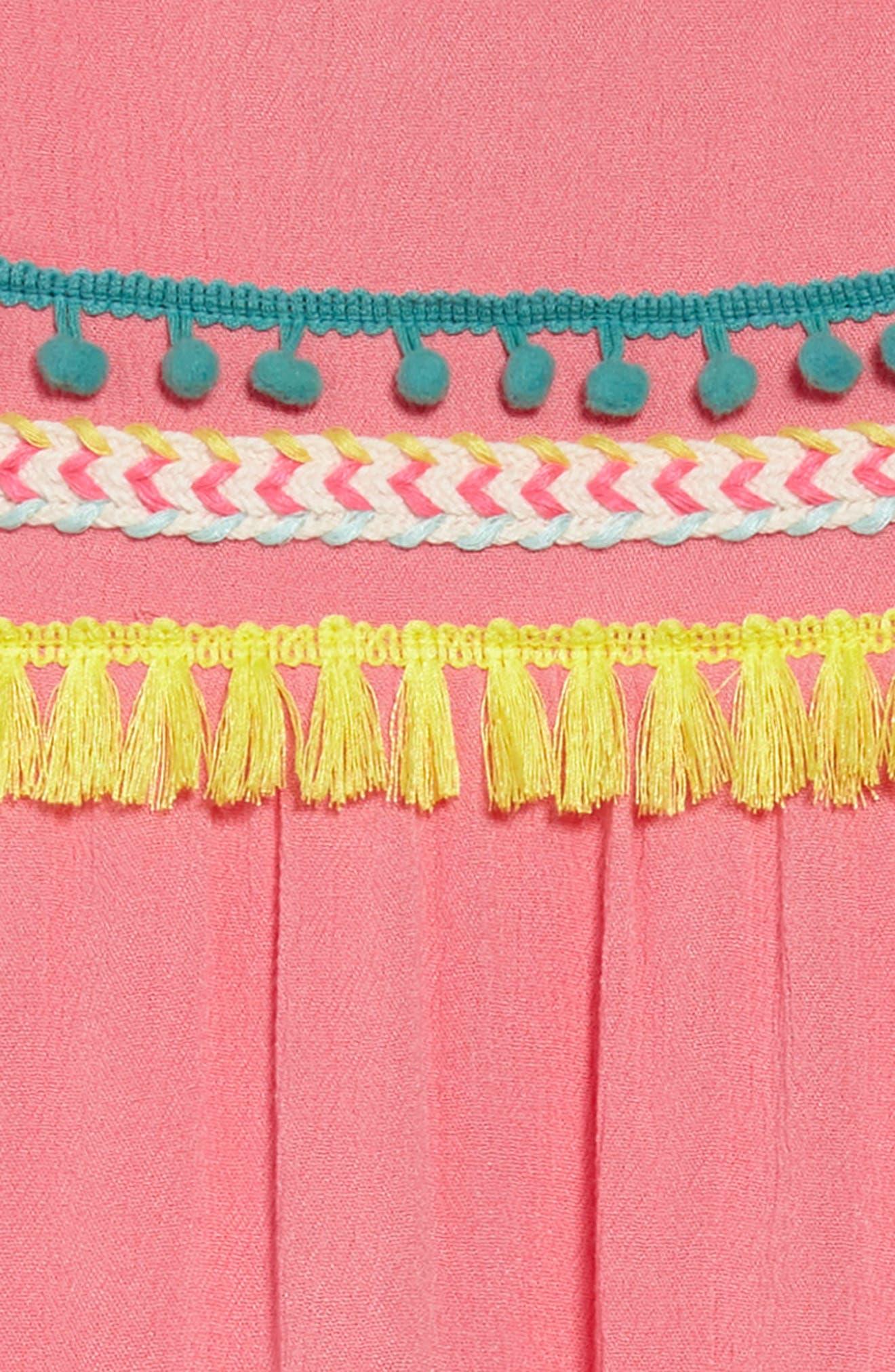 Trim Babydoll Dress,                             Alternate thumbnail 3, color,                             Coral