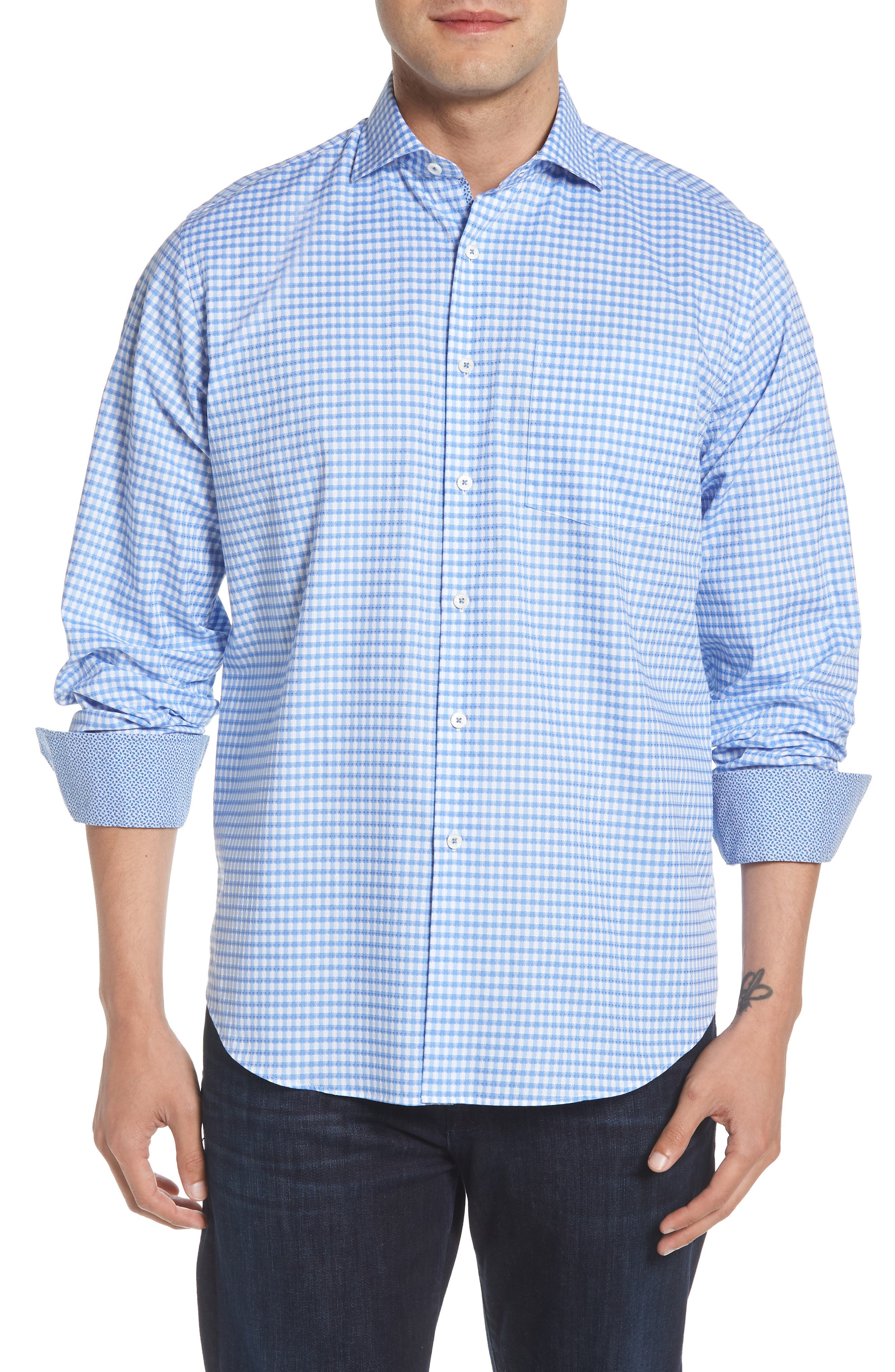 Classic Fit Mini Check Sport Shirt,                         Main,                         color, Dusty Blue