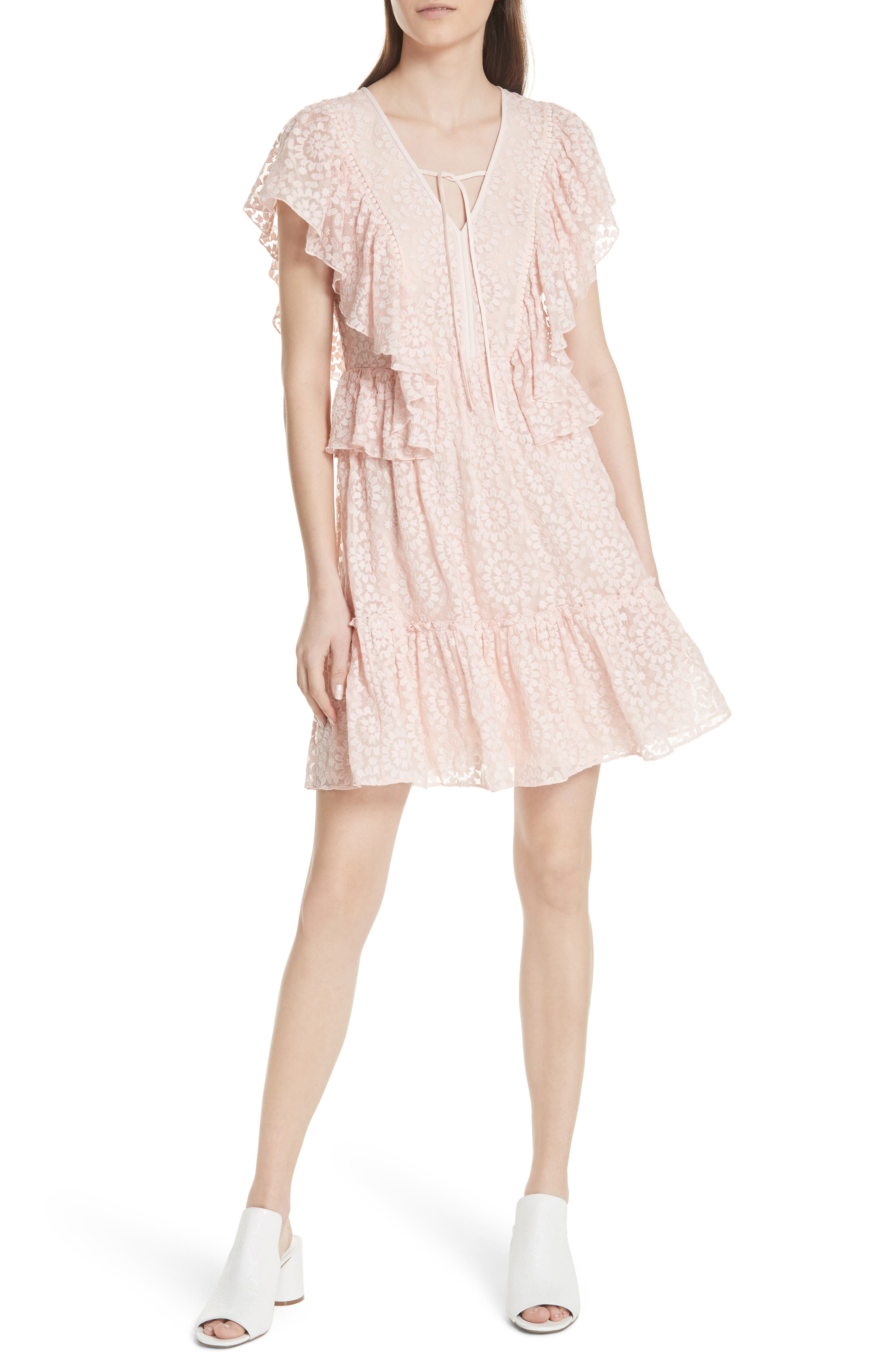 embroidered cotton & silk chiffon dress,                         Main,                         color, Pearl  Pink
