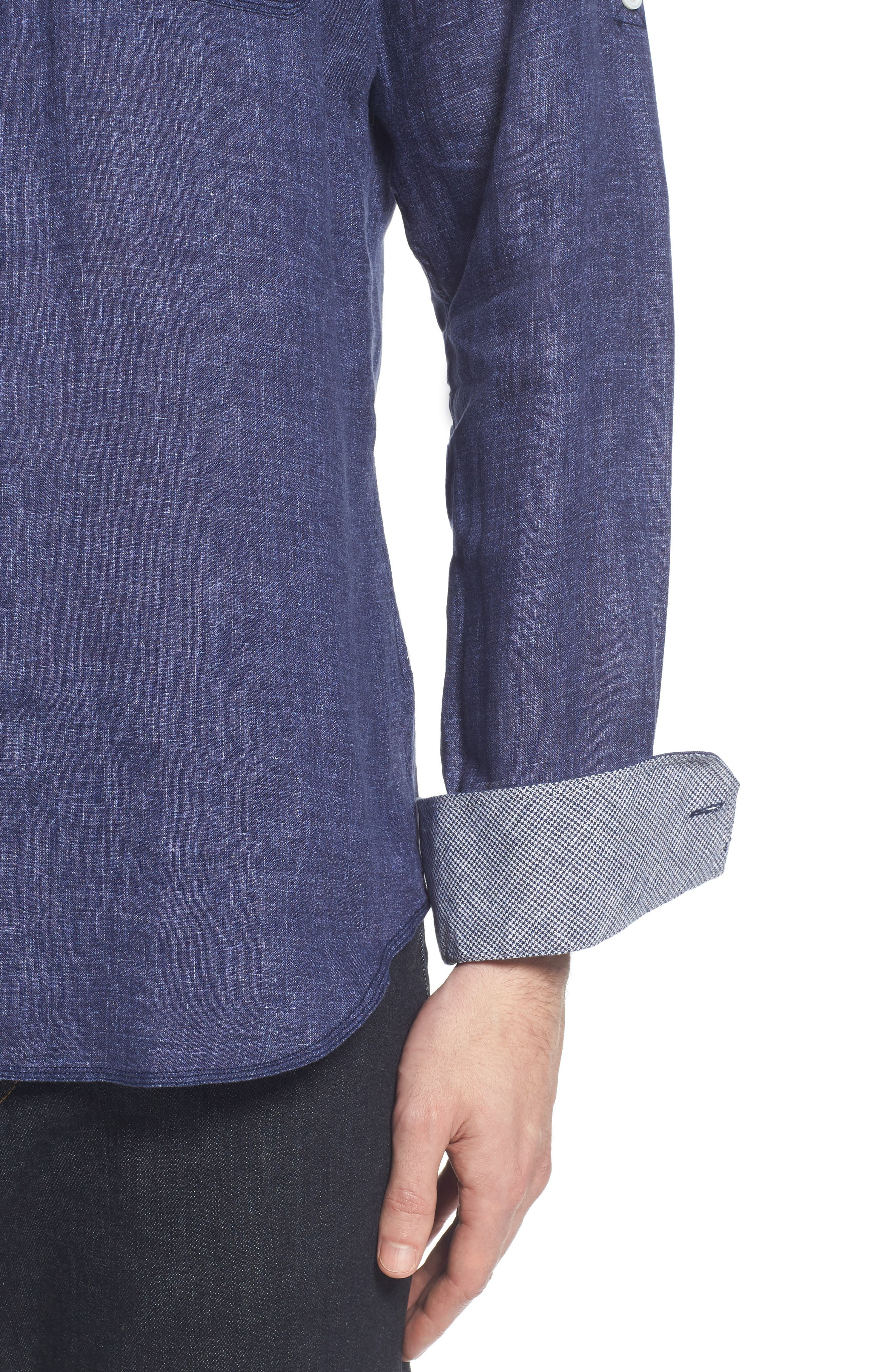 Shaped Fit Linen Sport Shirt,                             Alternate thumbnail 2, color,                             Navy