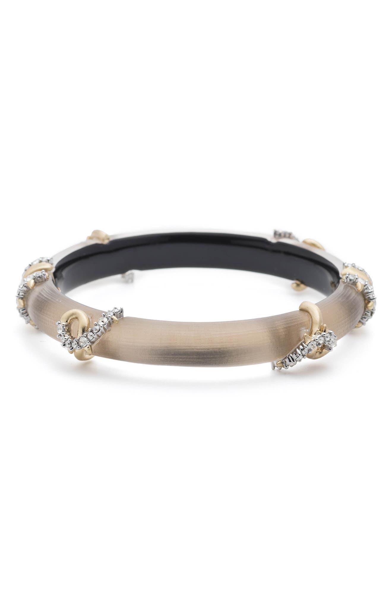 Crystal Encrusted Open Knot Bracelet,                             Main thumbnail 1, color,                             Sun Gold
