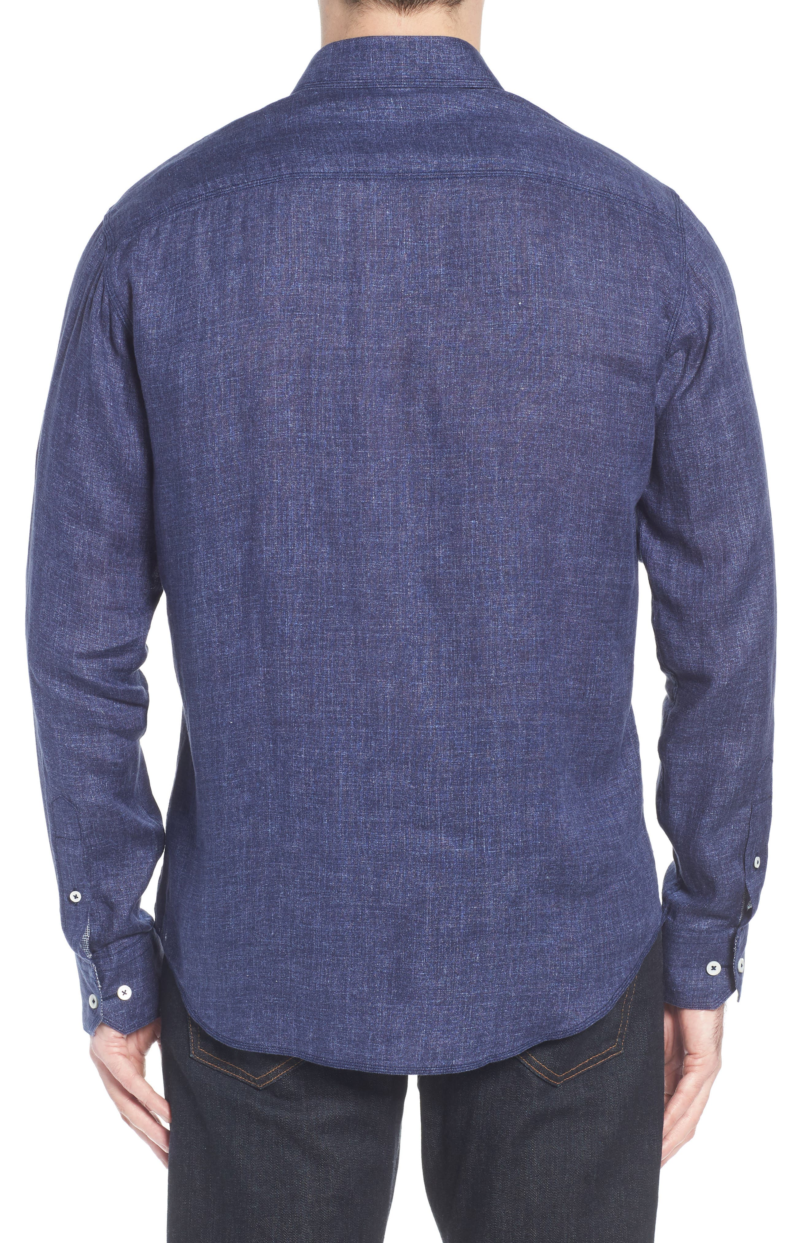 Shaped Fit Linen Sport Shirt,                             Alternate thumbnail 3, color,                             Navy