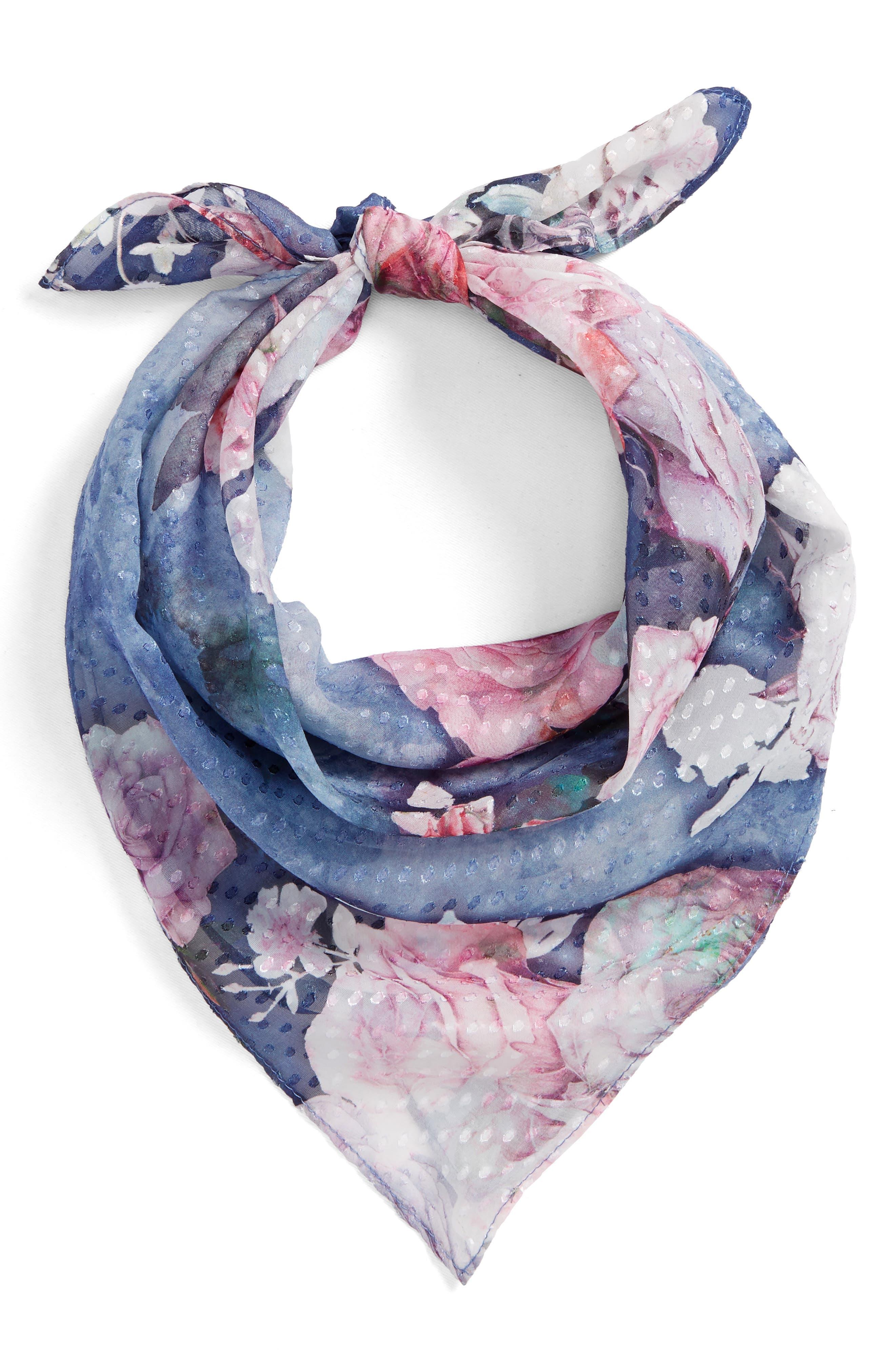 Jacquard Dot Silk Blend Scarf,                             Main thumbnail 1, color,                             Navy Water Garden