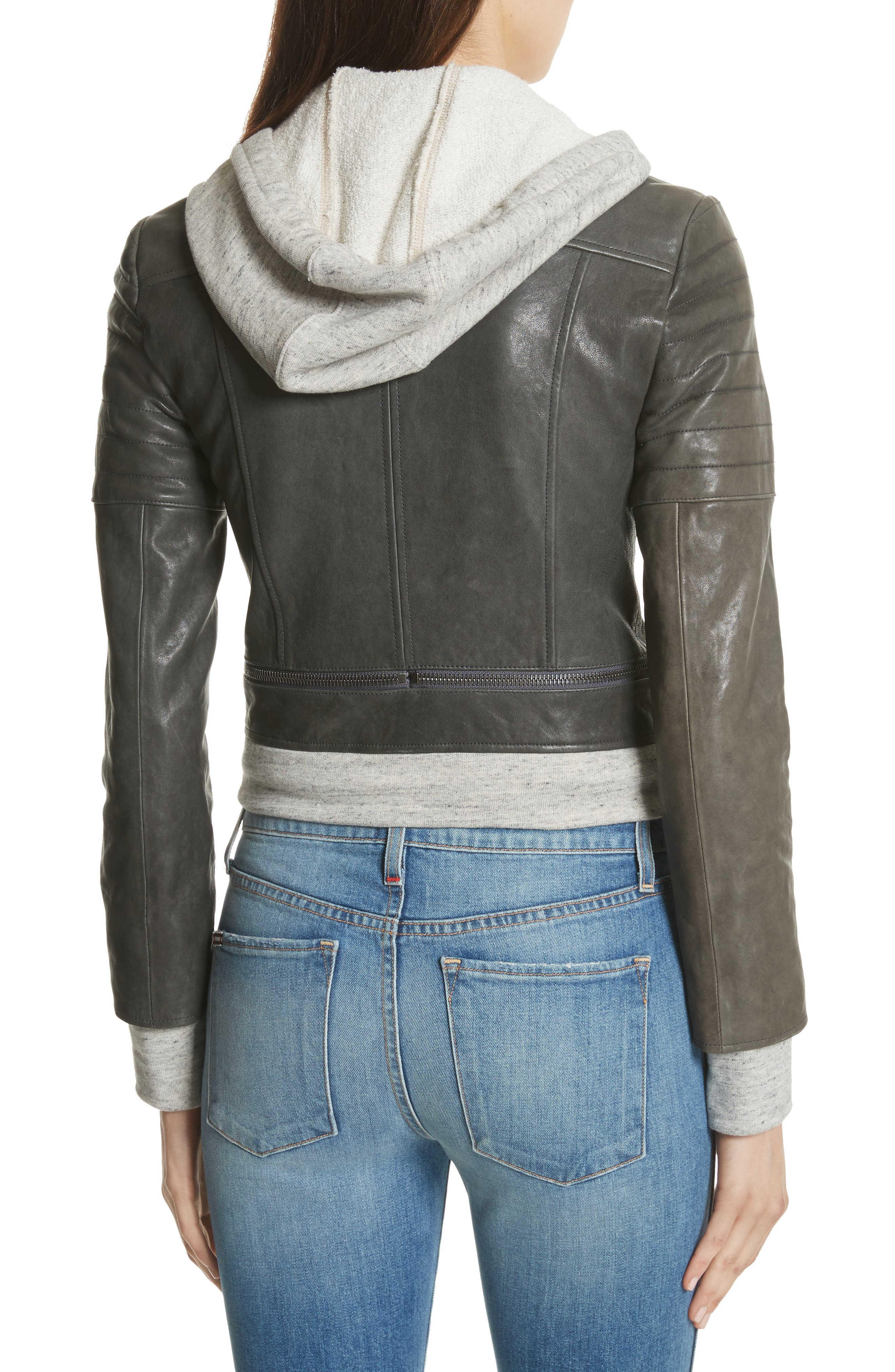 Avril Hooded Combo Leather Jacket,                             Alternate thumbnail 2, color,                             Charcoal