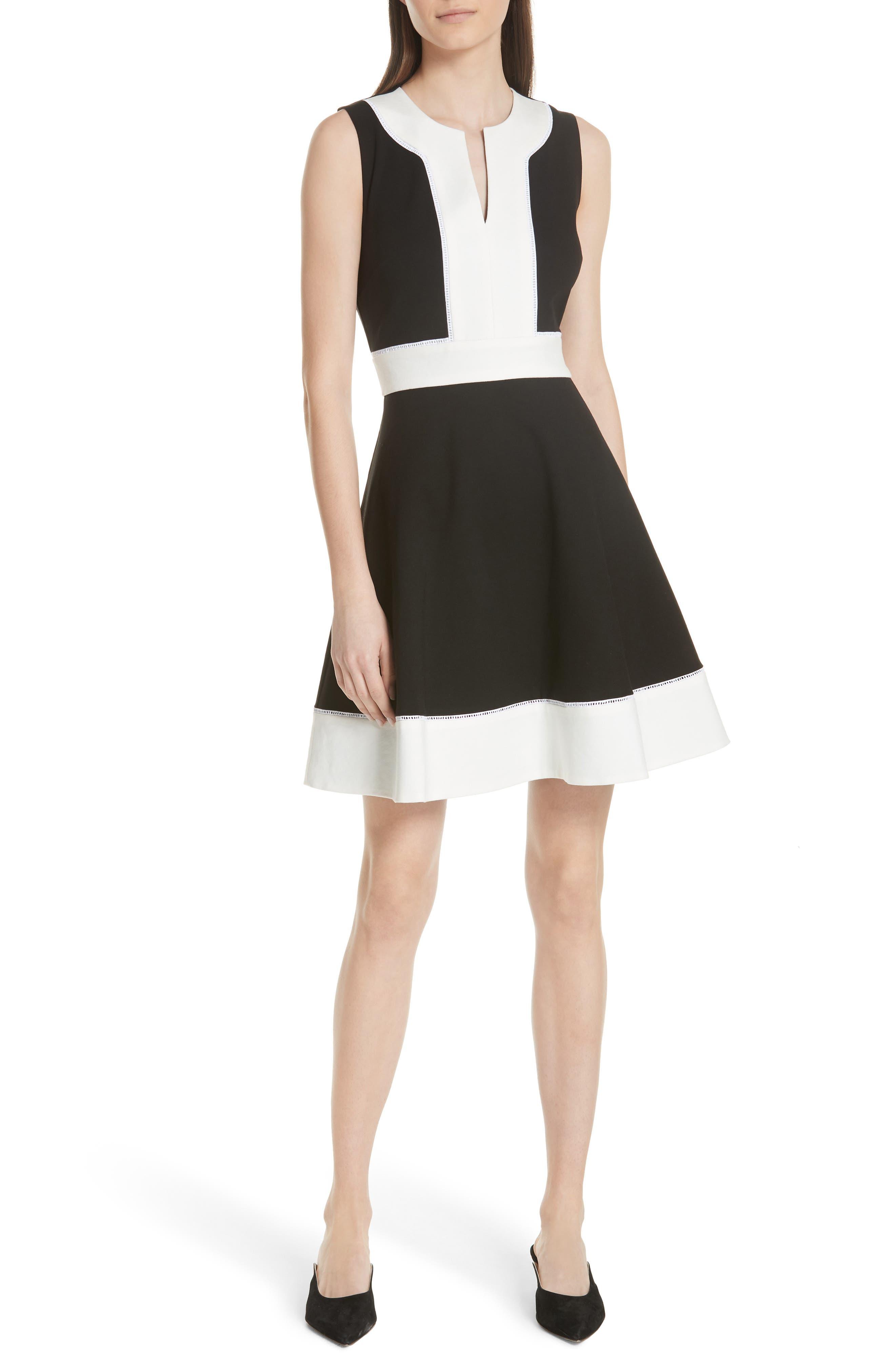 colorblock ponte a-line dress,                             Main thumbnail 1, color,                             Black