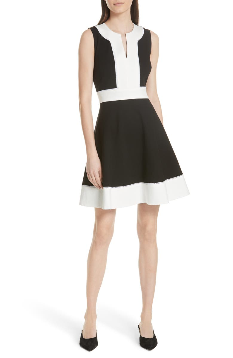 colorblock ponte a-line dress