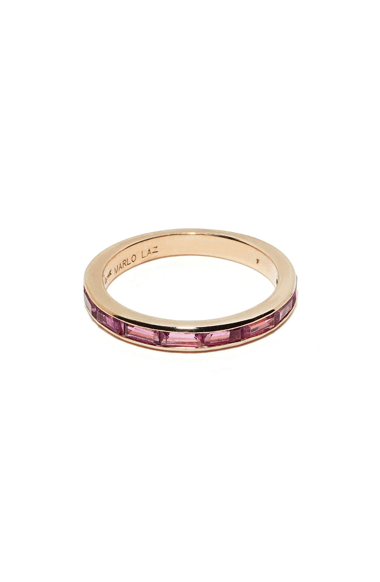 Pink Tourmaline Baguette Ring,                             Main thumbnail 1, color,                             Yellow Gold