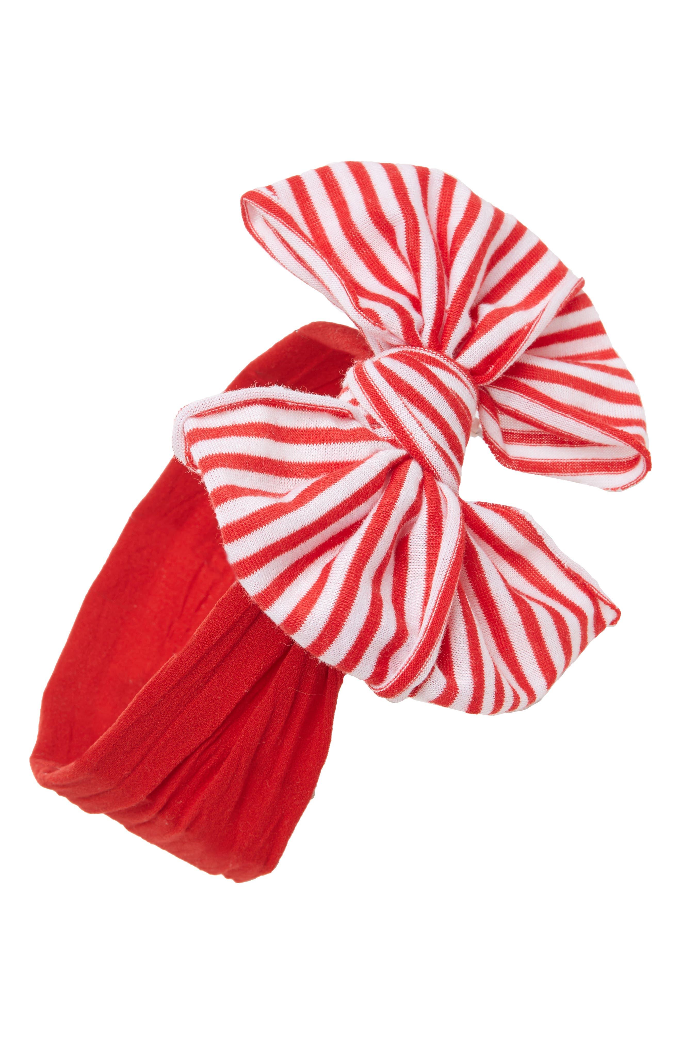 Jersey Bow Headband,                         Main,                         color, Cherry-Cherry Stripe