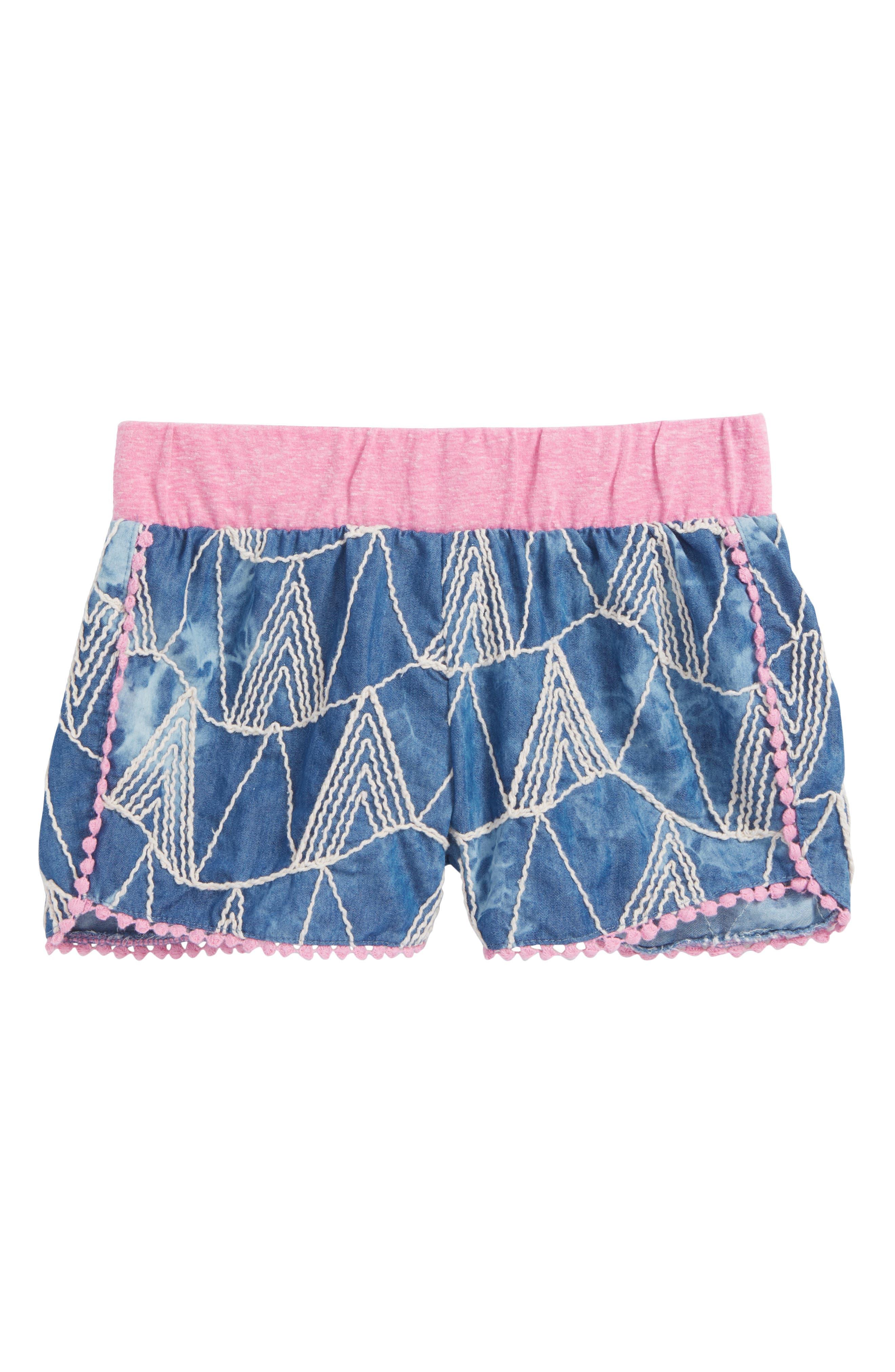 Mikki Miette Joi Embroidered Shorts,                             Main thumbnail 1, color,                             Sayulita