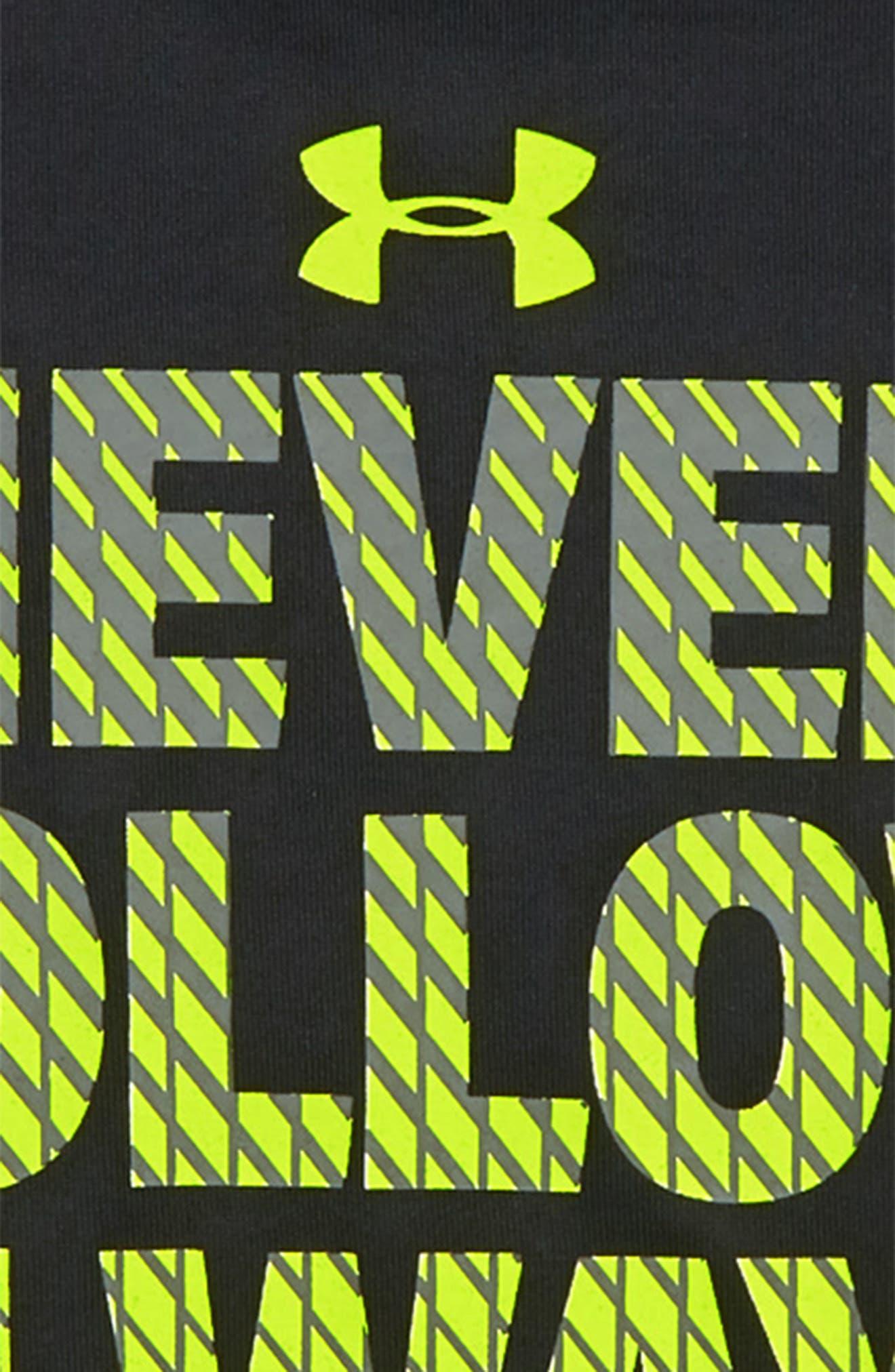 Never Follow Always Lead HeatGear<sup>®</sup> T-Shirt,                             Alternate thumbnail 2, color,                             Black