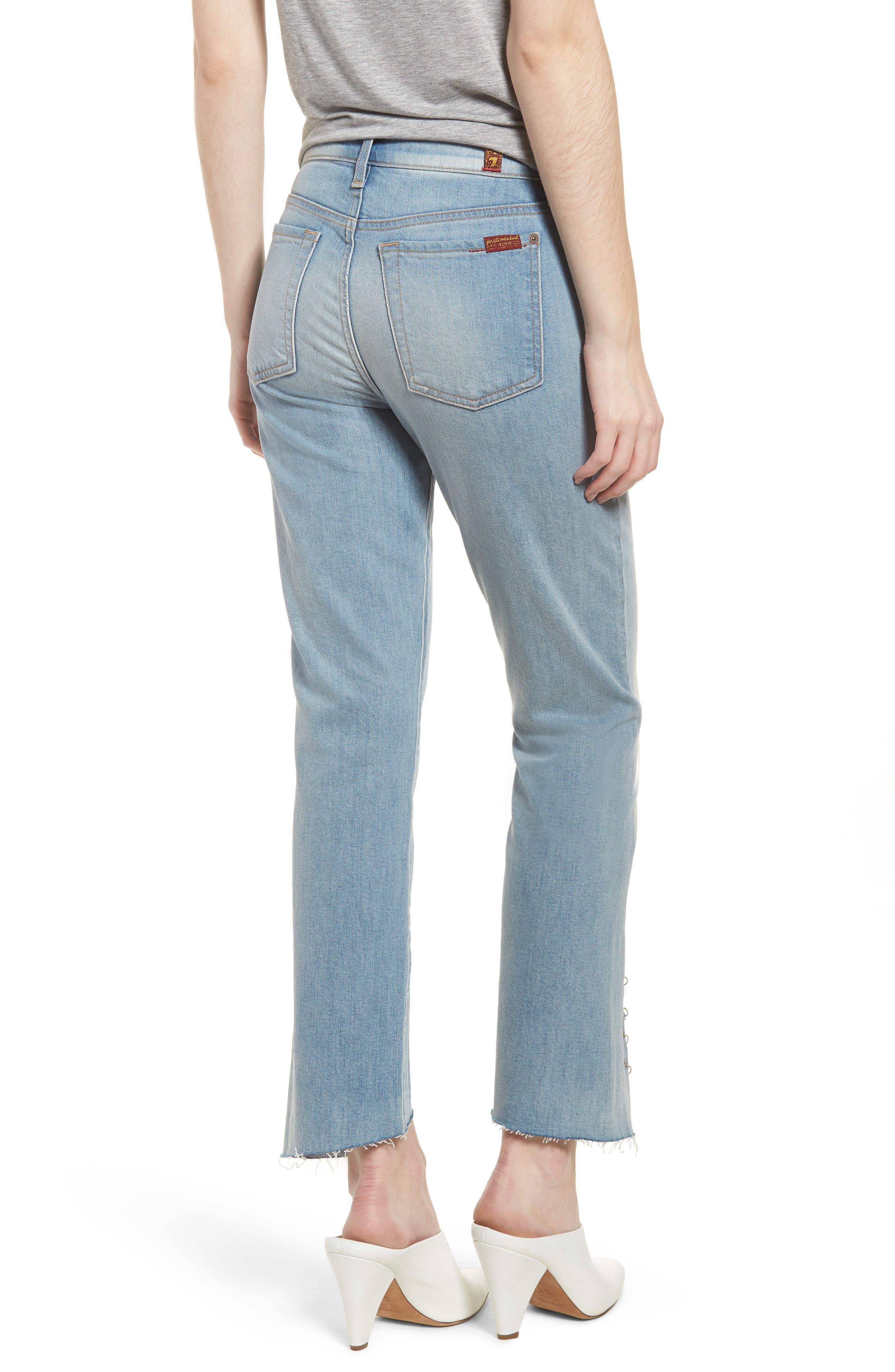 Edie Grommet & Rings Seam Crop Jeans,                             Alternate thumbnail 2, color,                             Light Riviera
