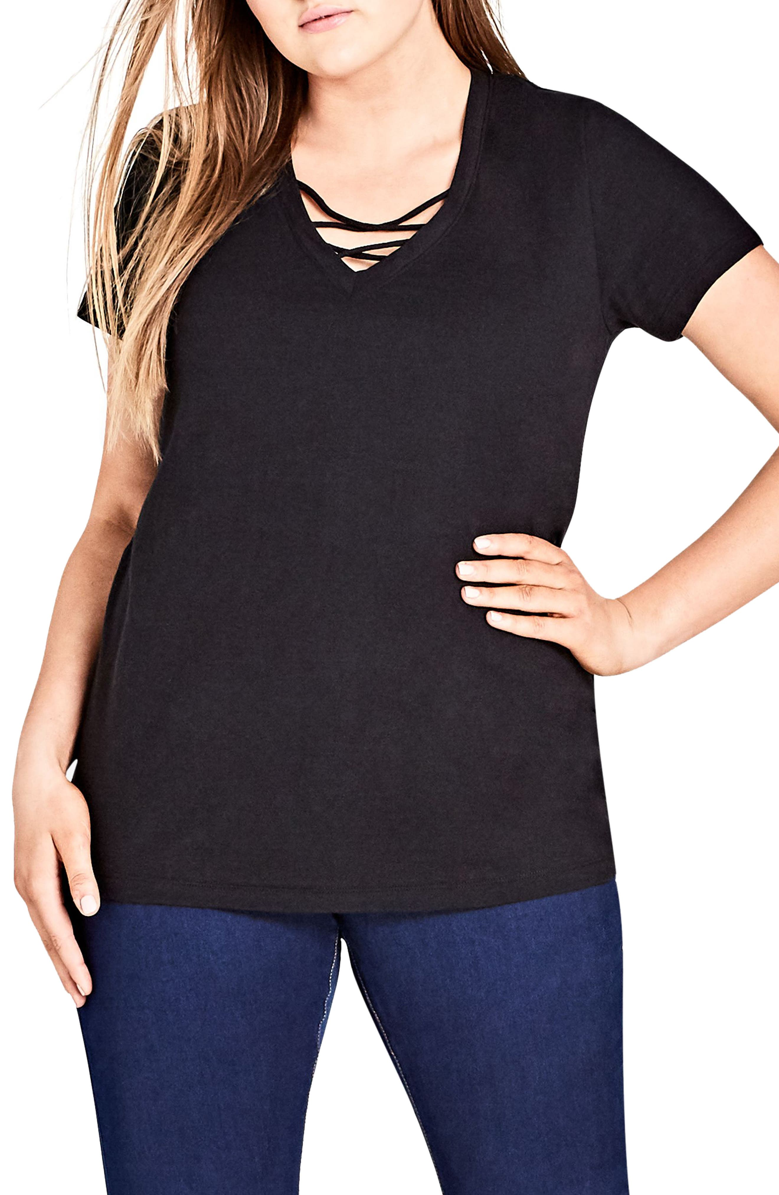 Alternate Image 1 Selected - City Chic Detail V-Neck Tee (Plus Size)