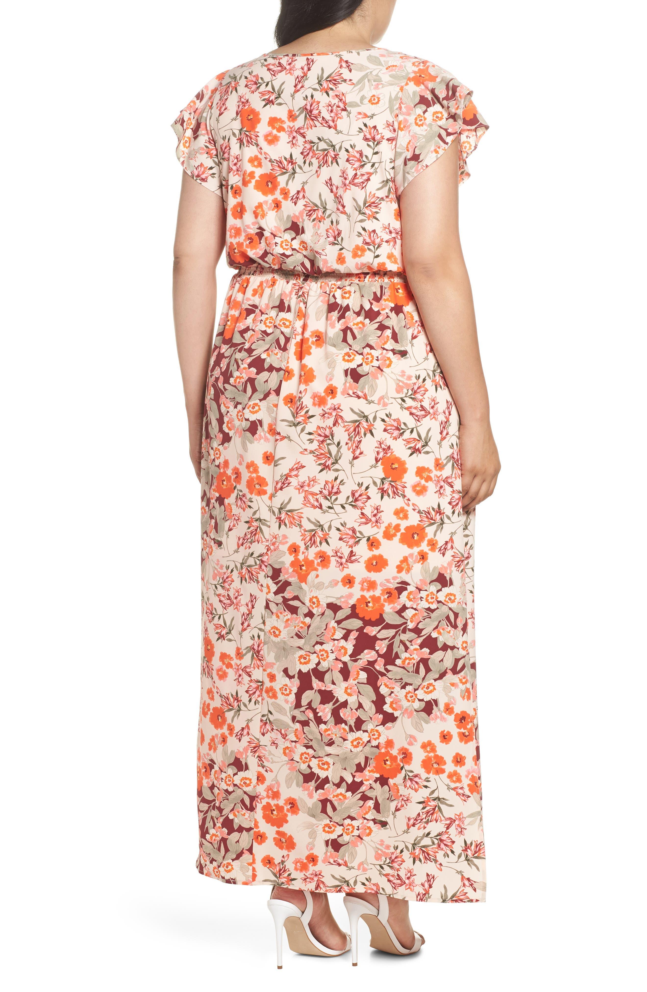 Floral Ruffle Sleeve Maxi Dress,                             Alternate thumbnail 2, color,                             Geranium Multi