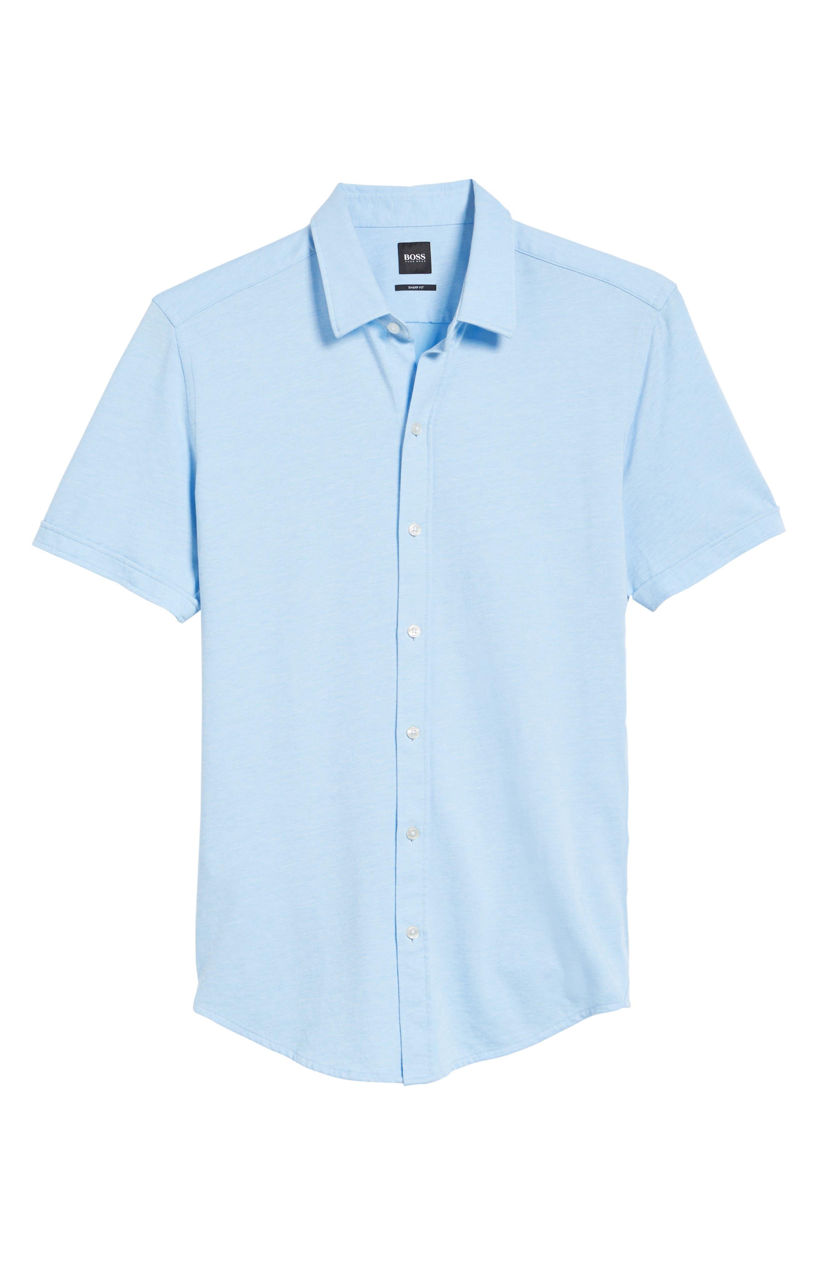 Robb Slim Fit Short Sleeve Sport Shirt,                             Alternate thumbnail 6, color,                             Light Blue