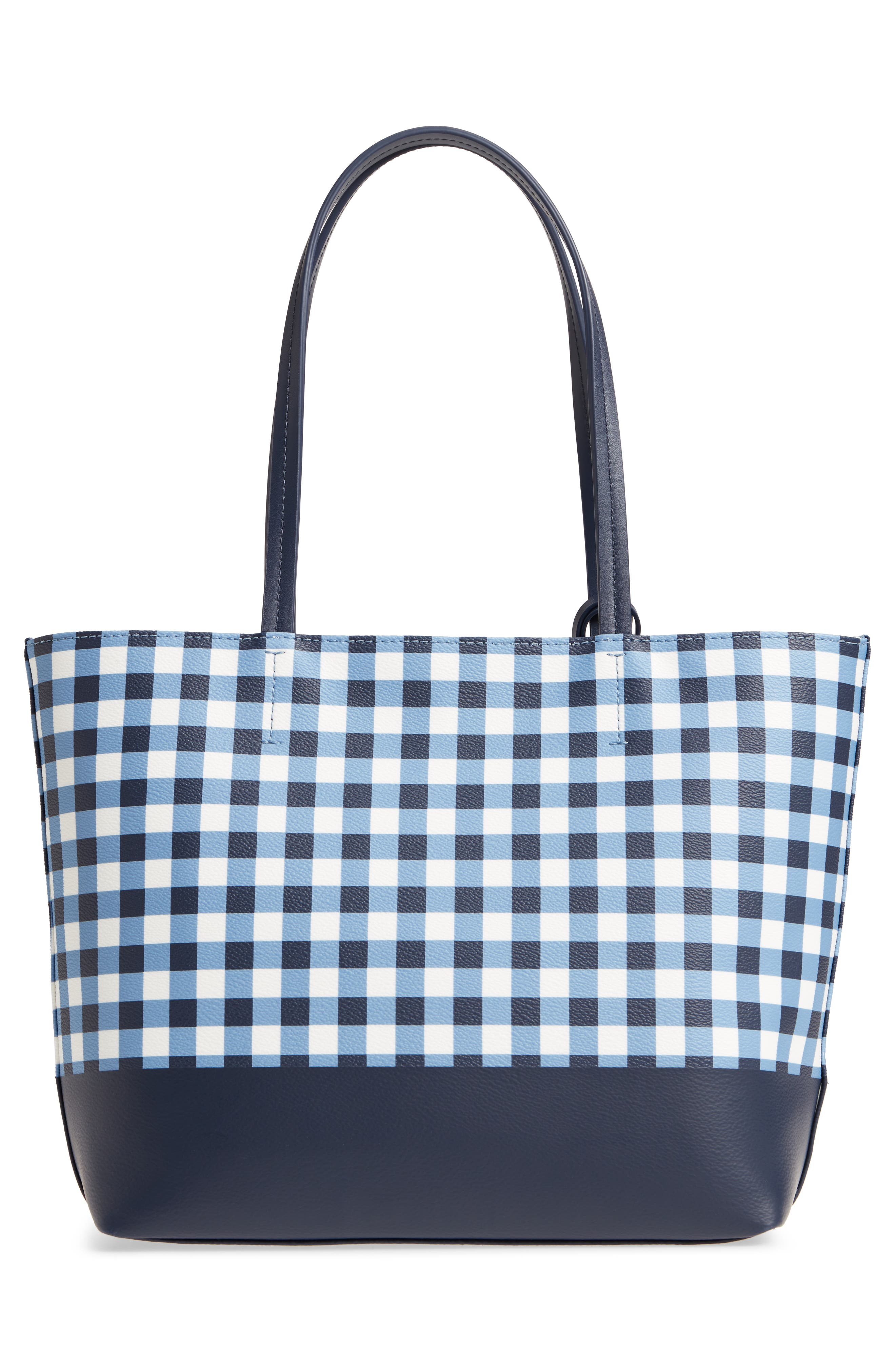 hyde lane gingham - small riley tote,                             Alternate thumbnail 3, color,                             Navy/ White
