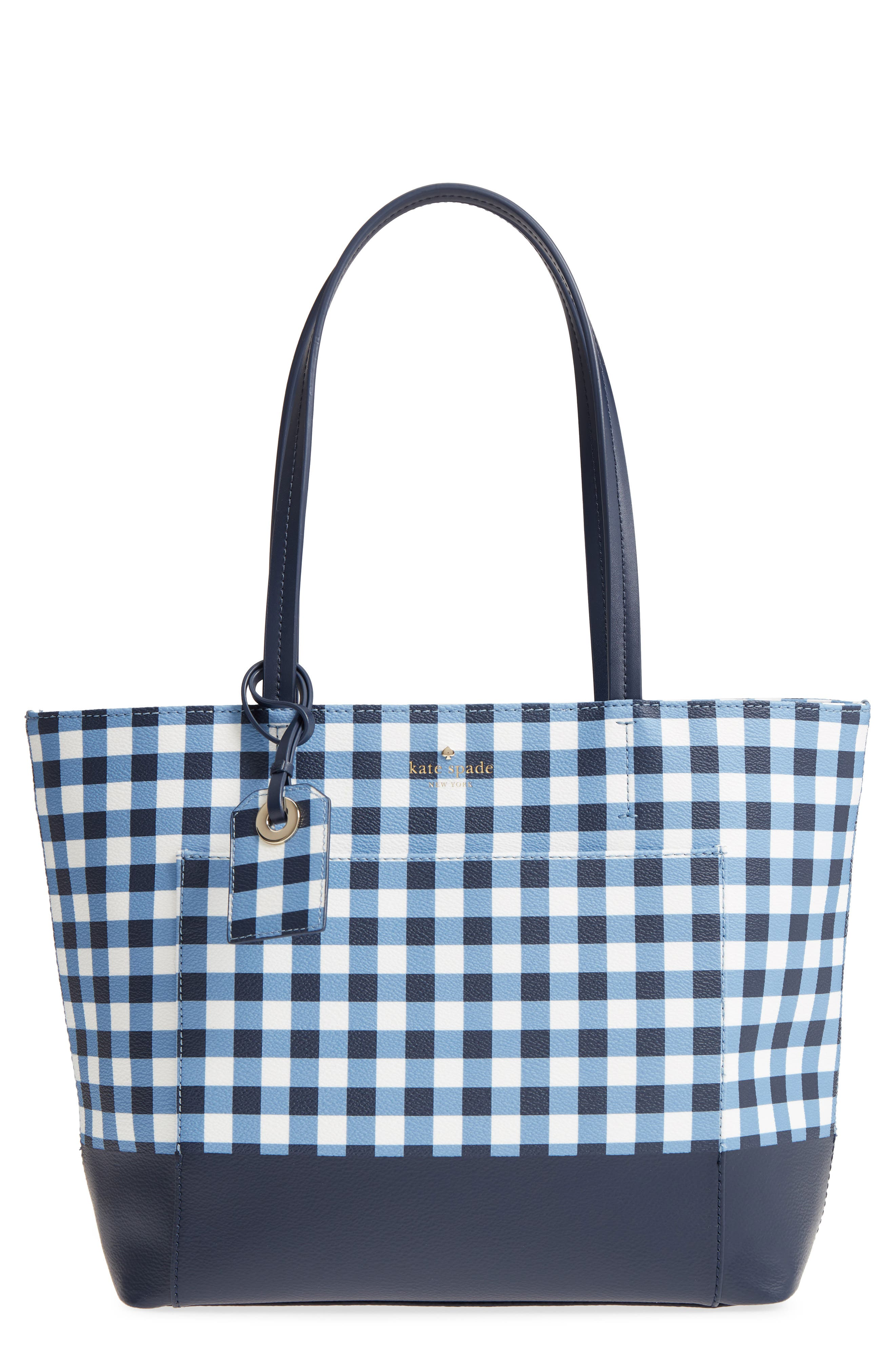 hyde lane gingham - small riley tote,                             Main thumbnail 1, color,                             Navy/ White