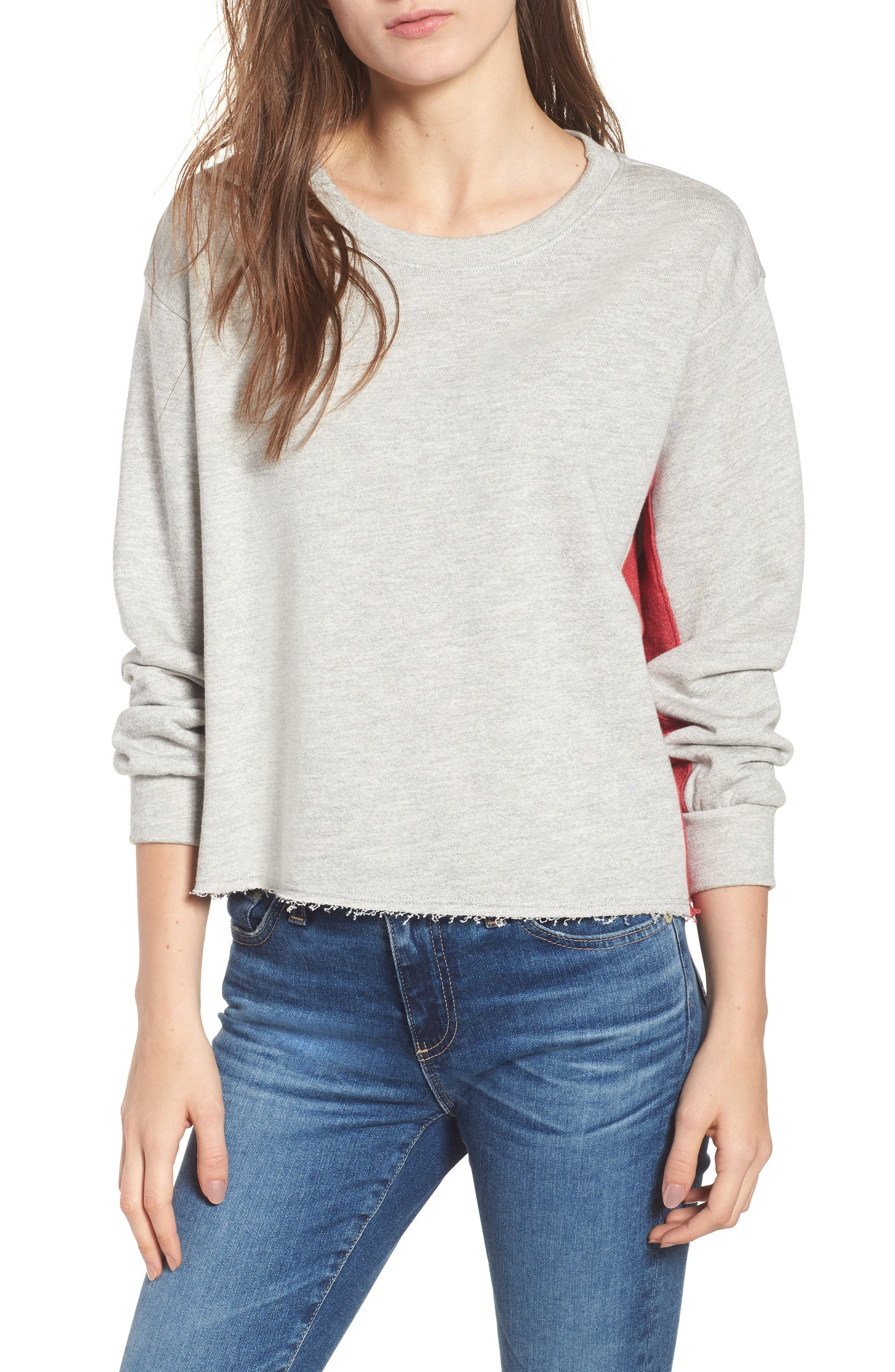 Colorblock Terry Sweatshirt,                             Main thumbnail 1, color,                             Heather Grey