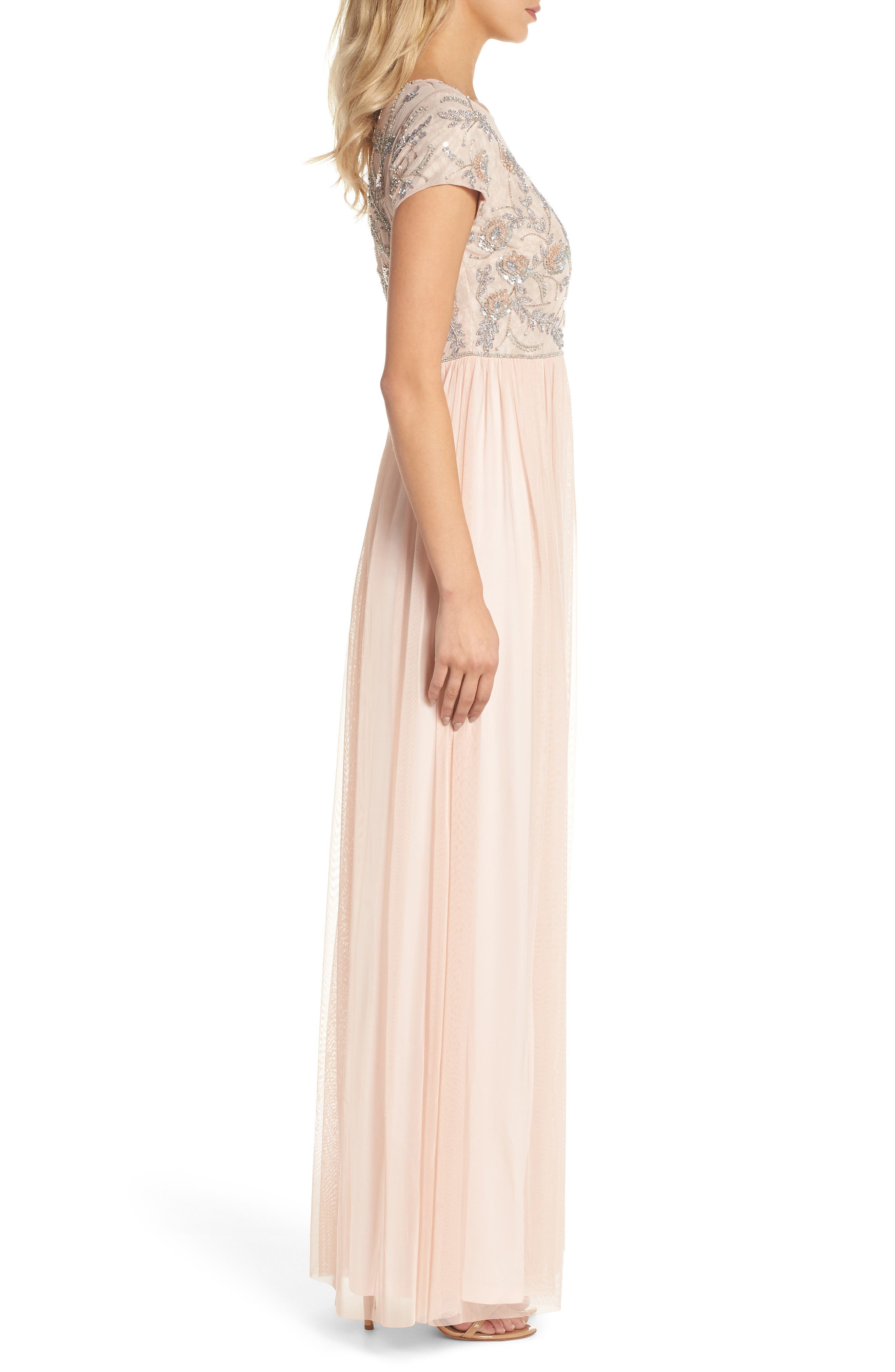 Beaded Mesh Gown,                             Alternate thumbnail 3, color,                             Blush