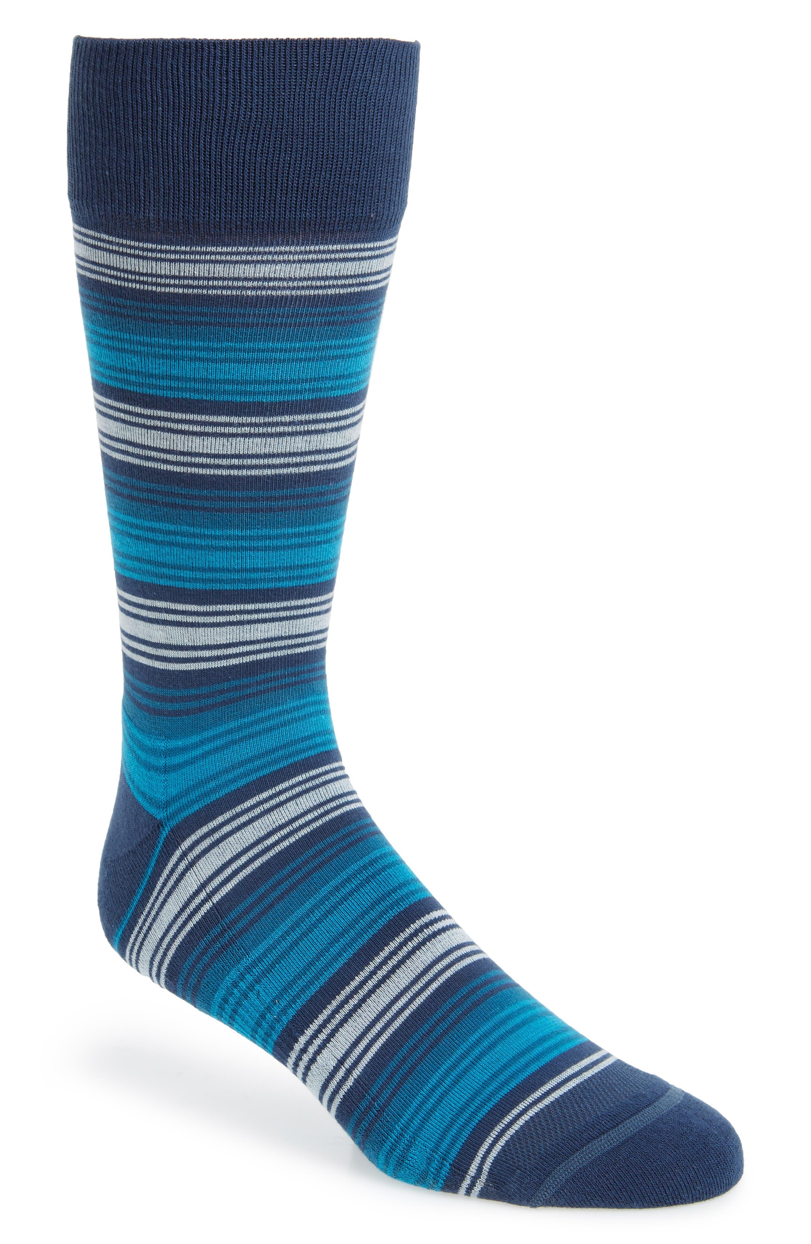 Spliced Block Stripe Socks,                         Main,                         color, Navy/ Blue