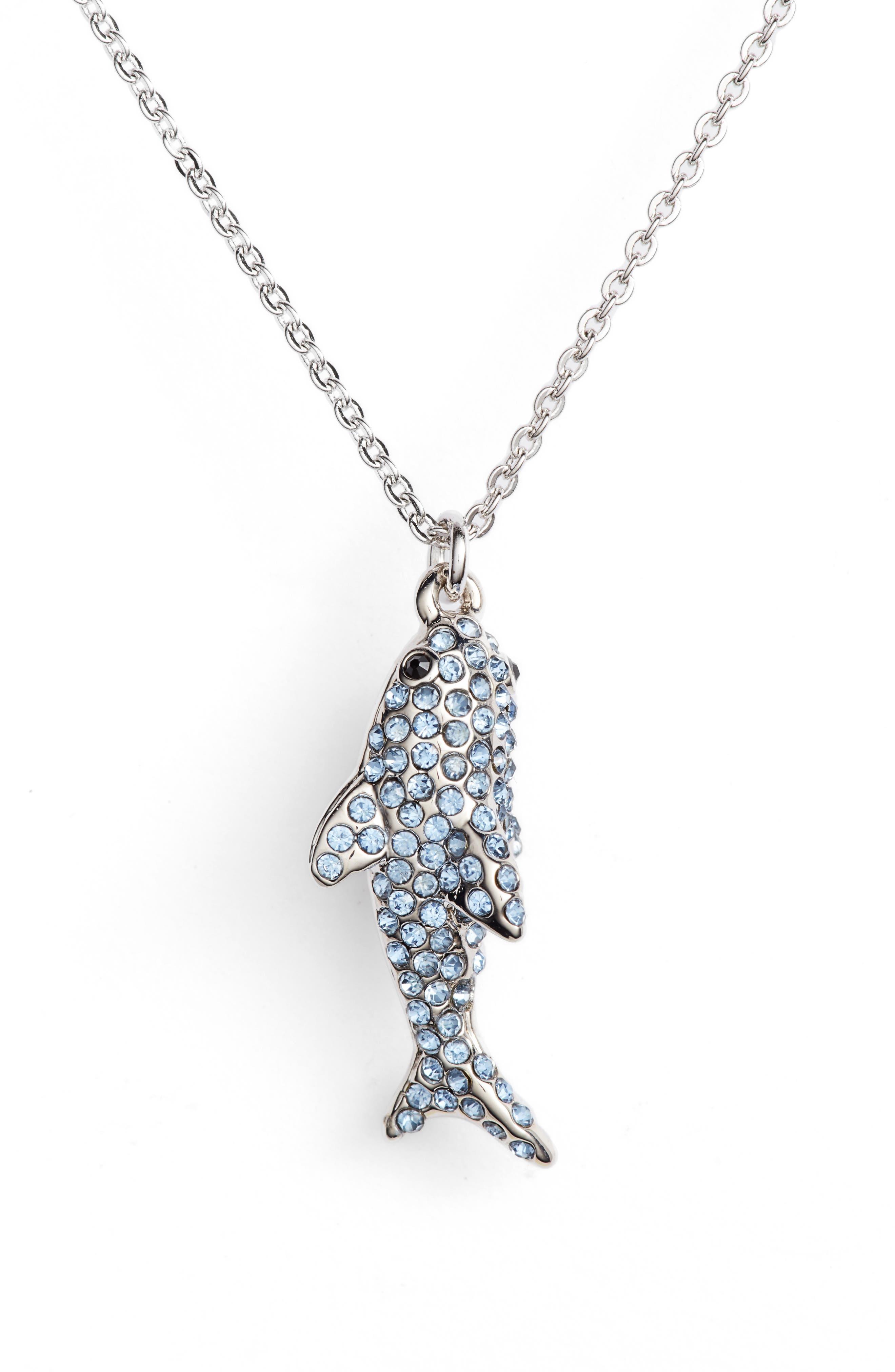 california dreaming pavé shark necklace,                         Main,                         color, Blue Multi