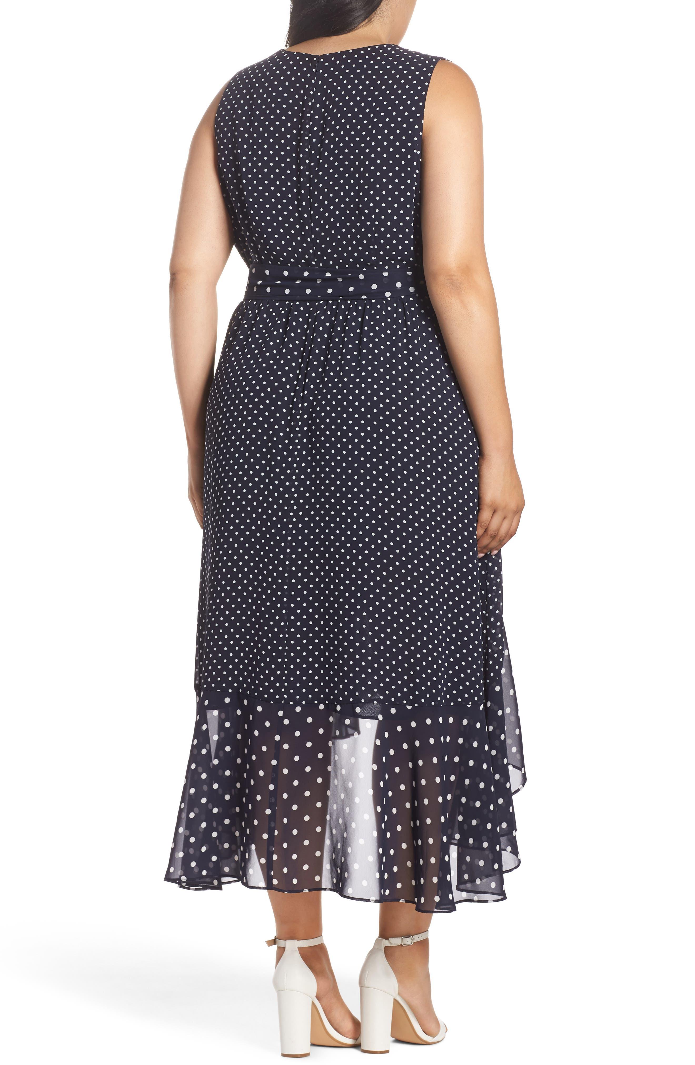 Polka Dot High/Low Hem Dress,                             Alternate thumbnail 2, color,                             Navy/ Ivory