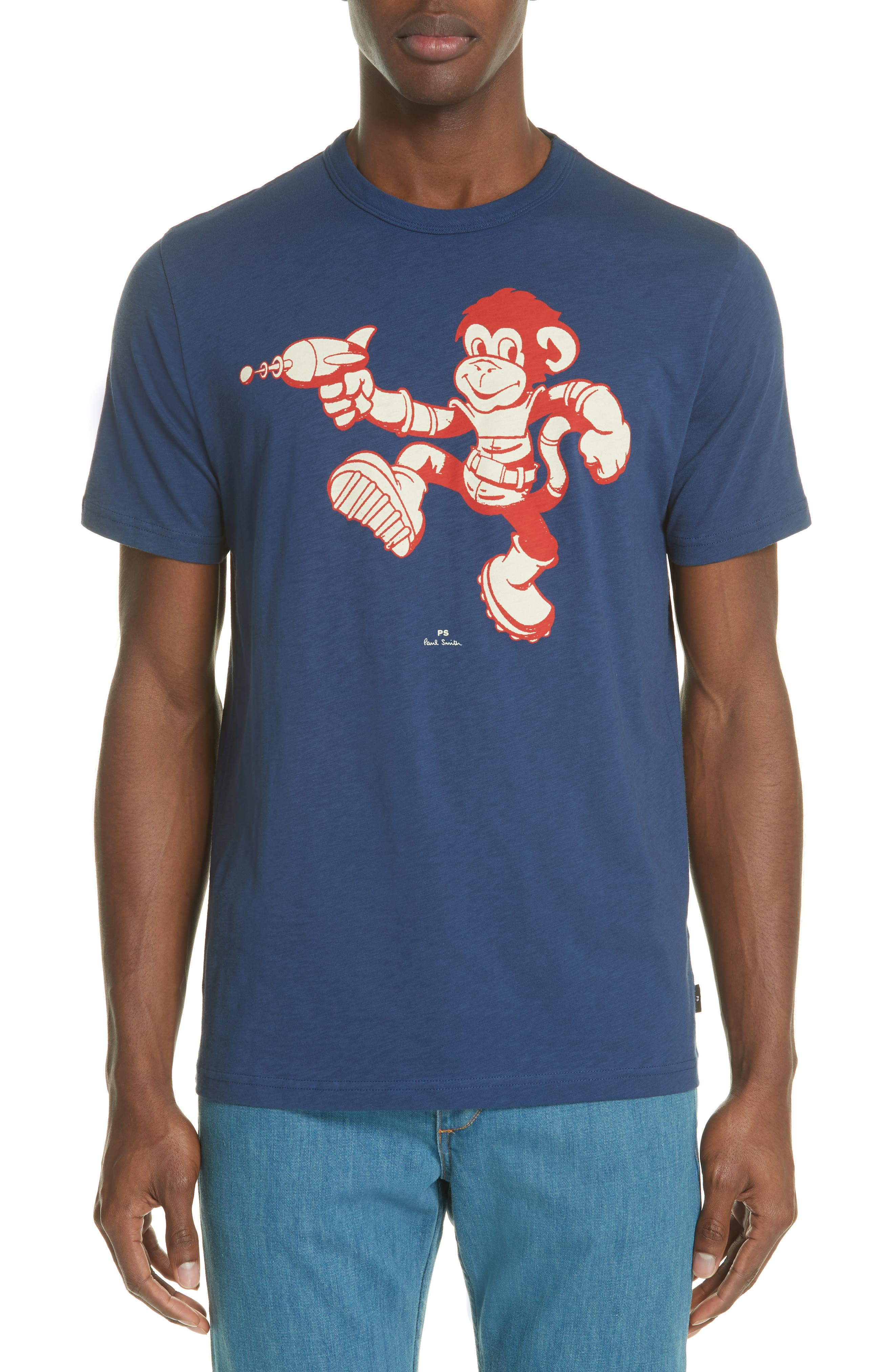 Space Monkey Graphic,                             Main thumbnail 1, color,                             Navy
