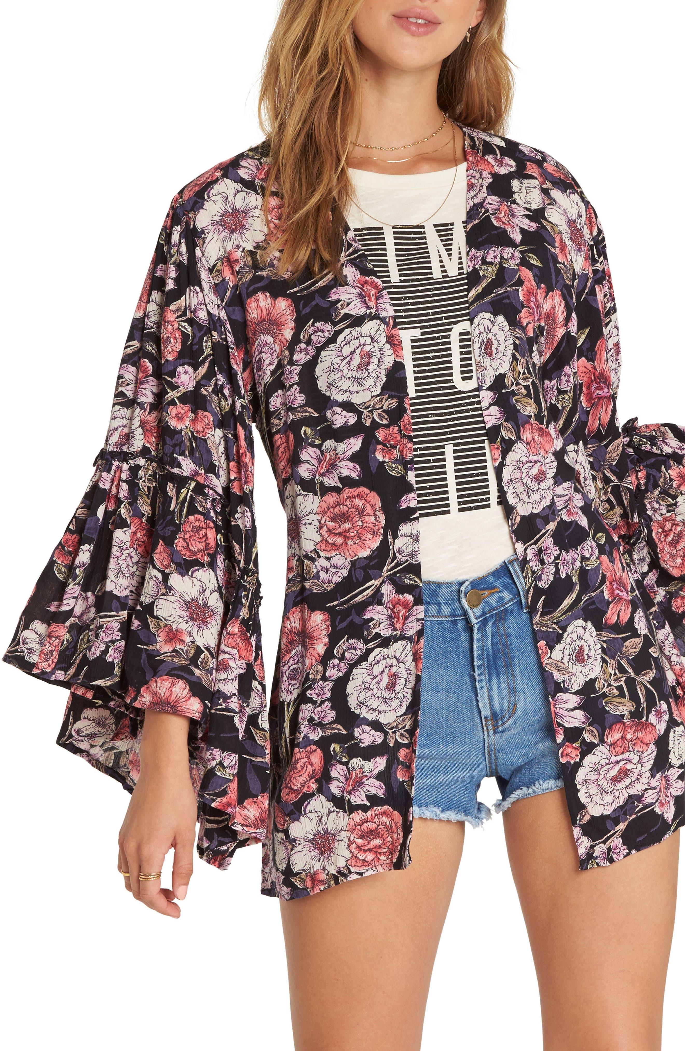All Flored Floral Kimono,                         Main,                         color, Black
