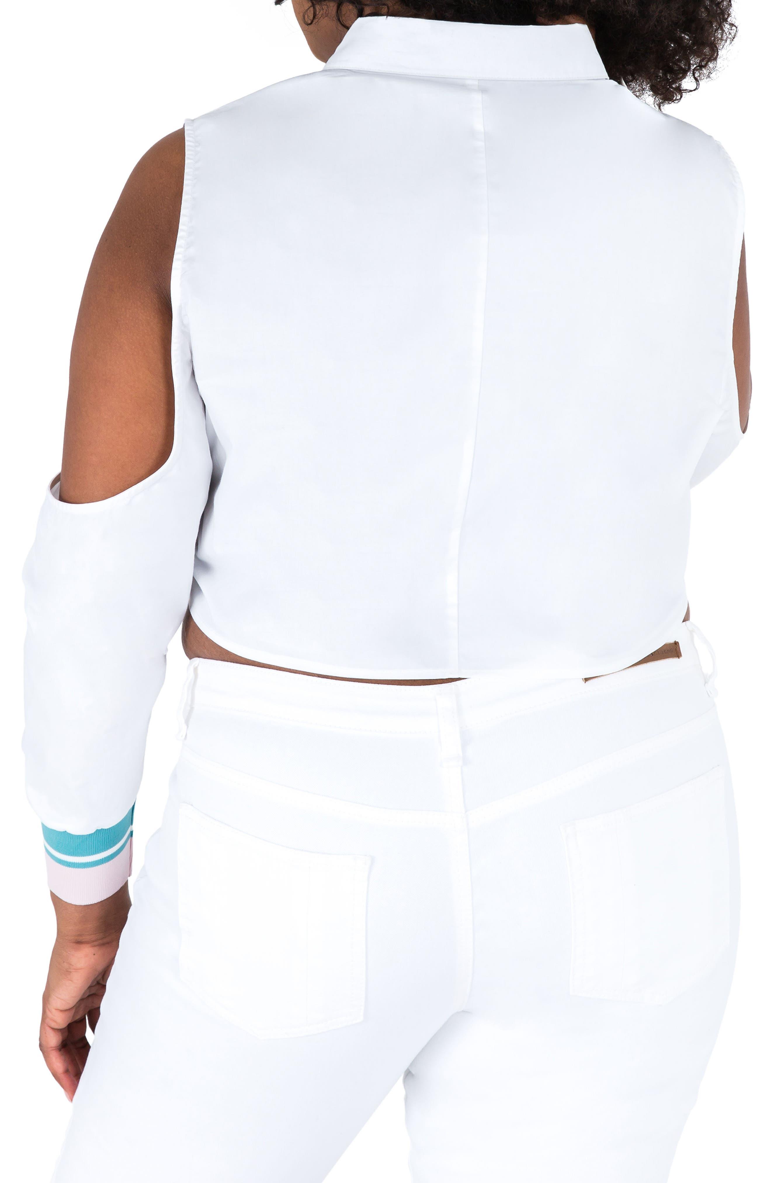 Prianca Cold Shoulder Poplin Top,                             Alternate thumbnail 2, color,                             White