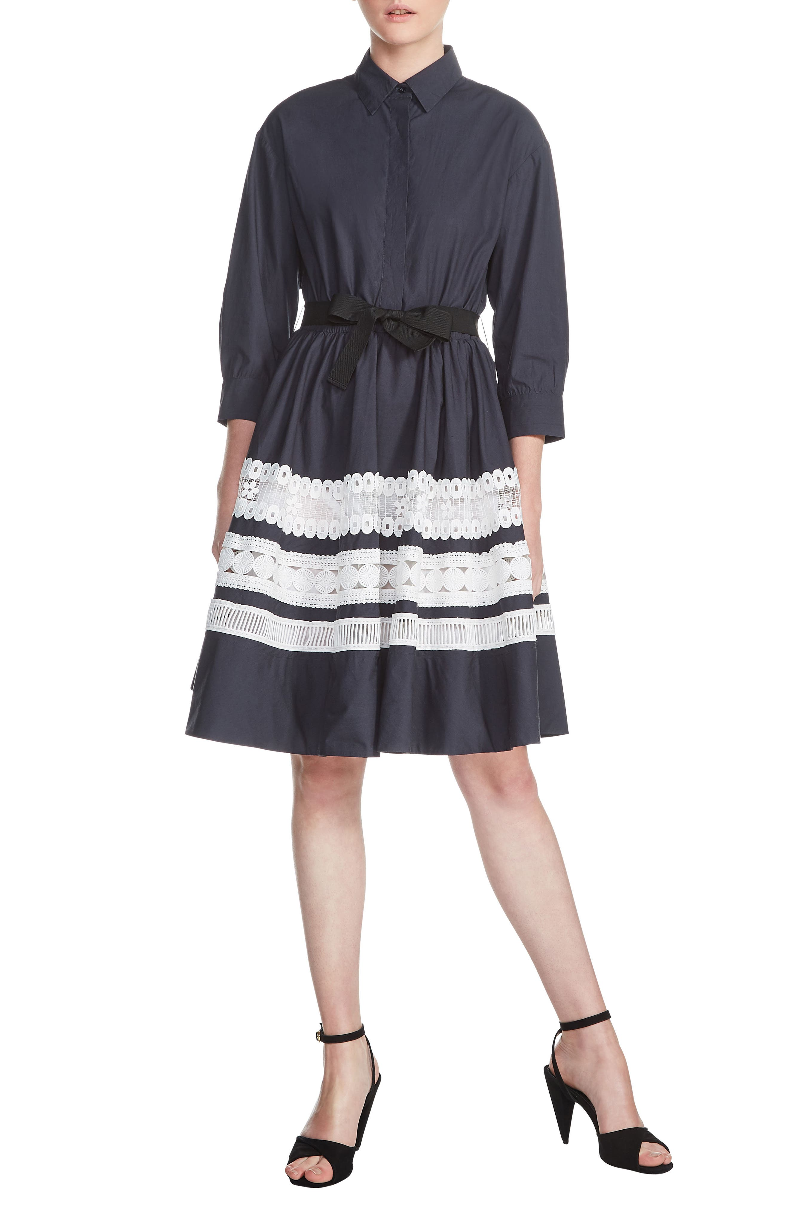 Ramona Lace Trim Shirtdress,                         Main,                         color, Marine