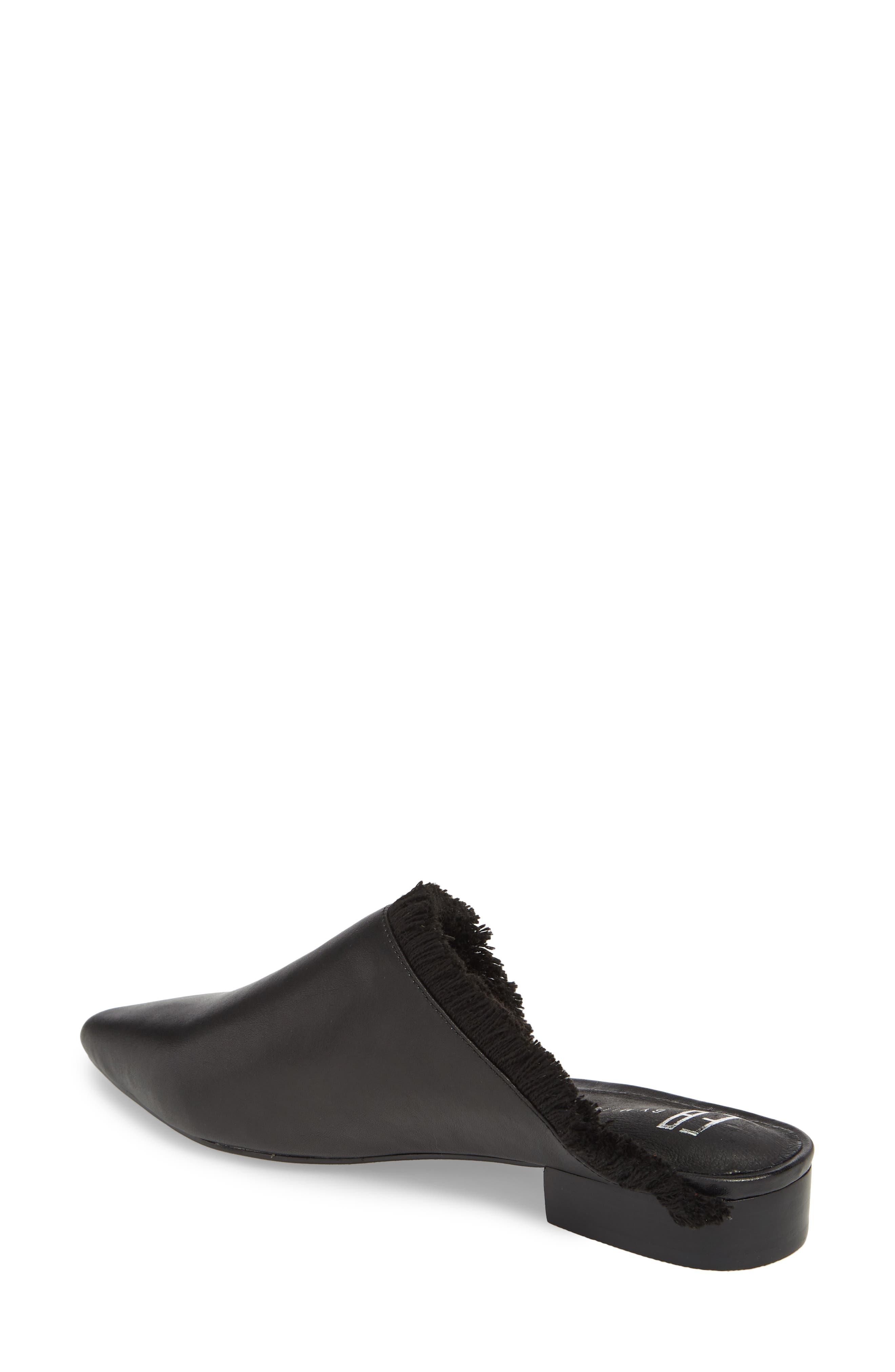 Leroy Asymmetrical Flat Mule,                             Alternate thumbnail 2, color,                             Black Leather
