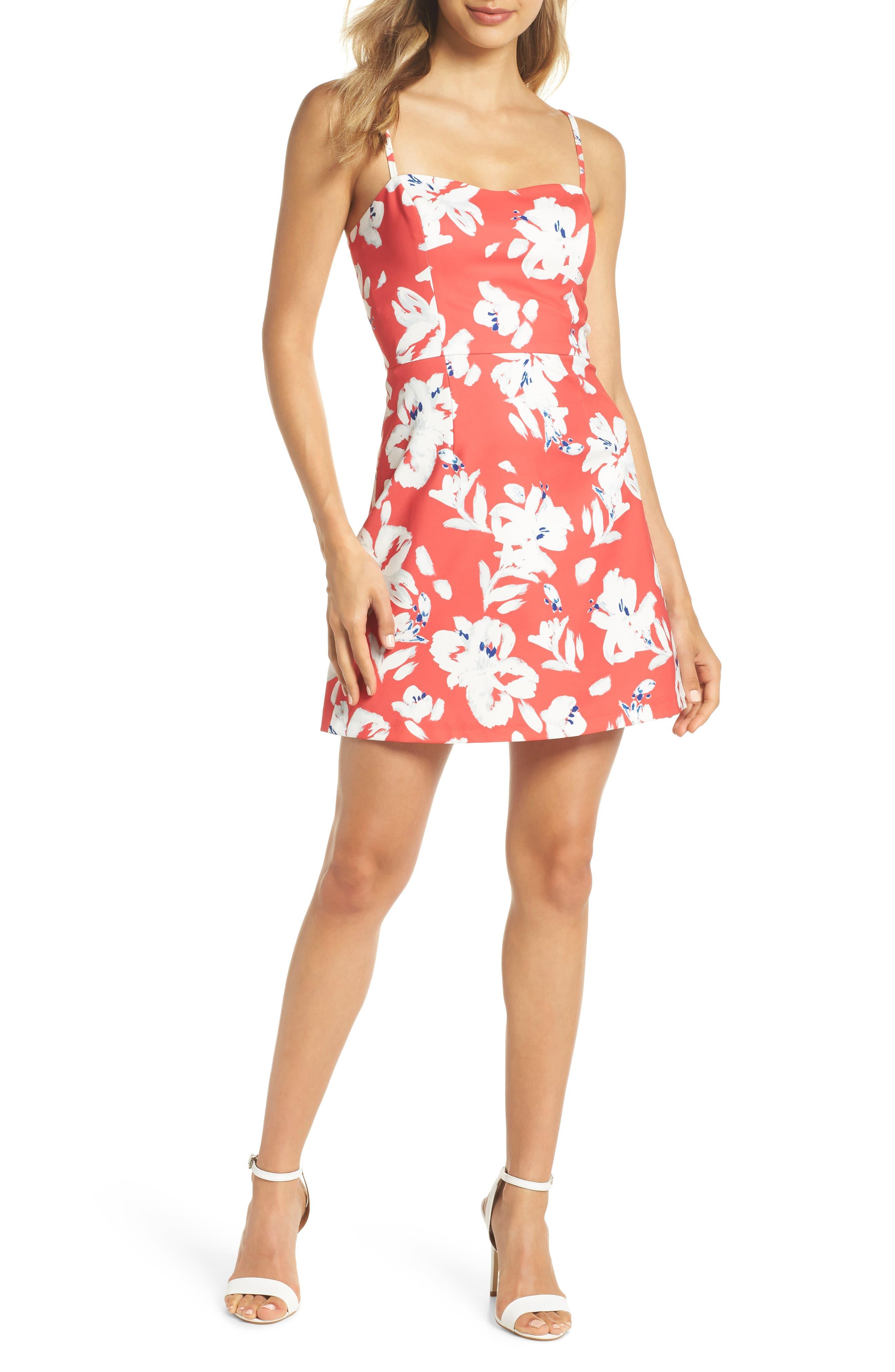 Print Sweetheart Minidress,                         Main,                         color, Azalea