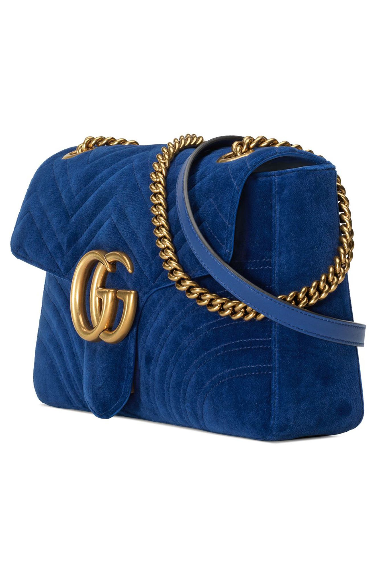 Medium GG Marmont 2.0 Matelassé Velvet Shoulder Bag,                             Alternate thumbnail 4, color,                             Cobalt/ Cobalt