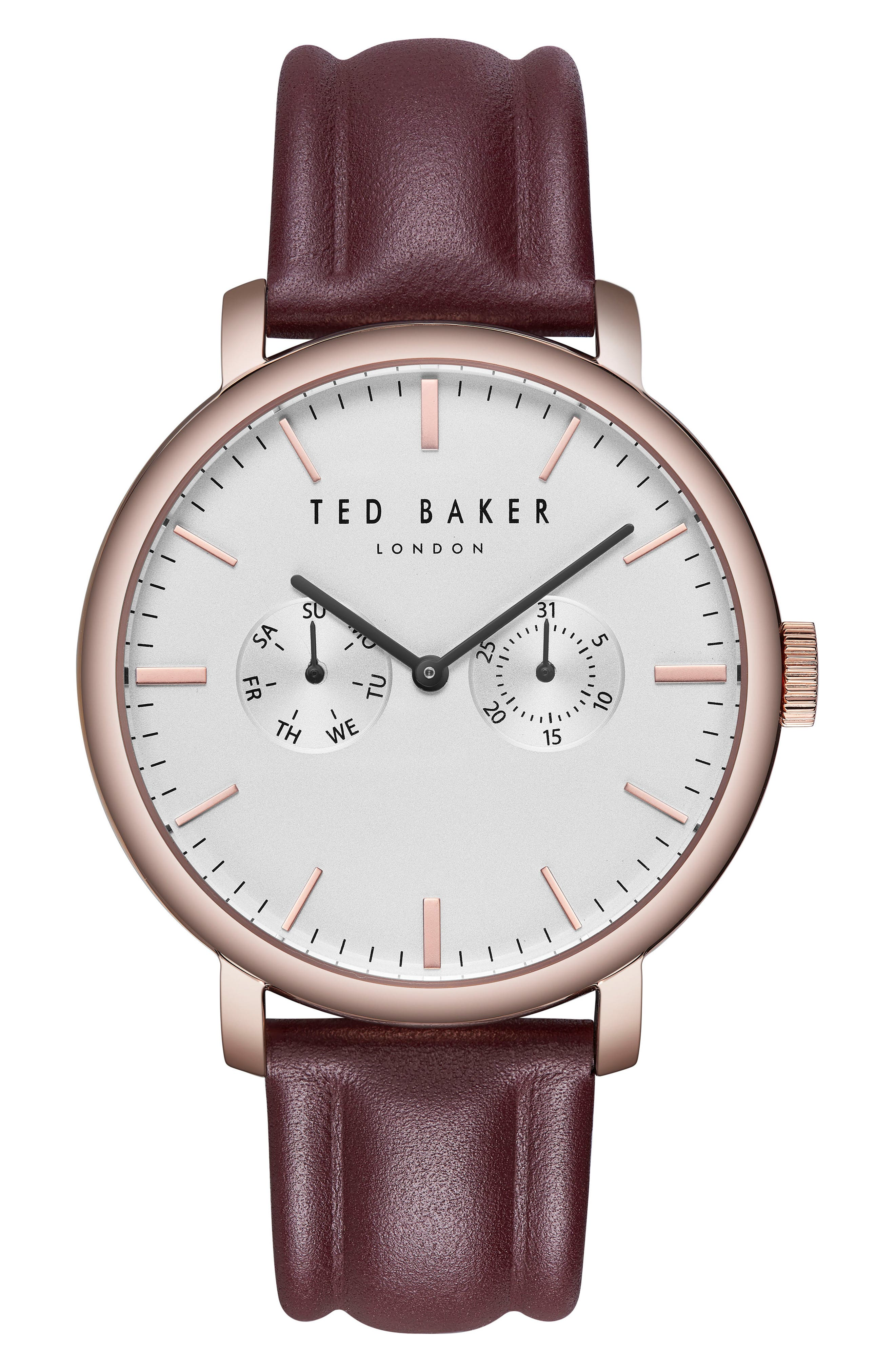 TRENT LEATHER STRAP WATCH, 43MM