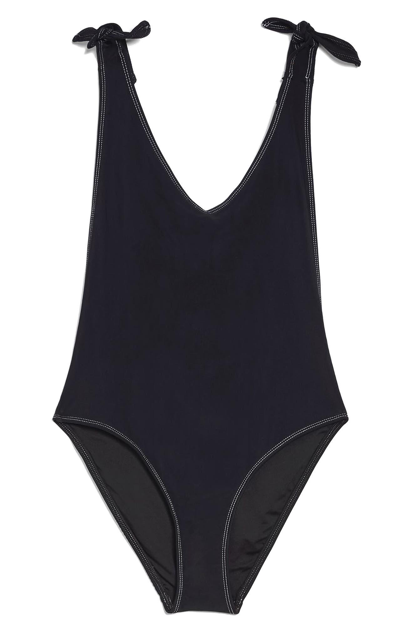 Tie Shoulder One-Piece Swimsuit,                             Alternate thumbnail 3, color,                             Black