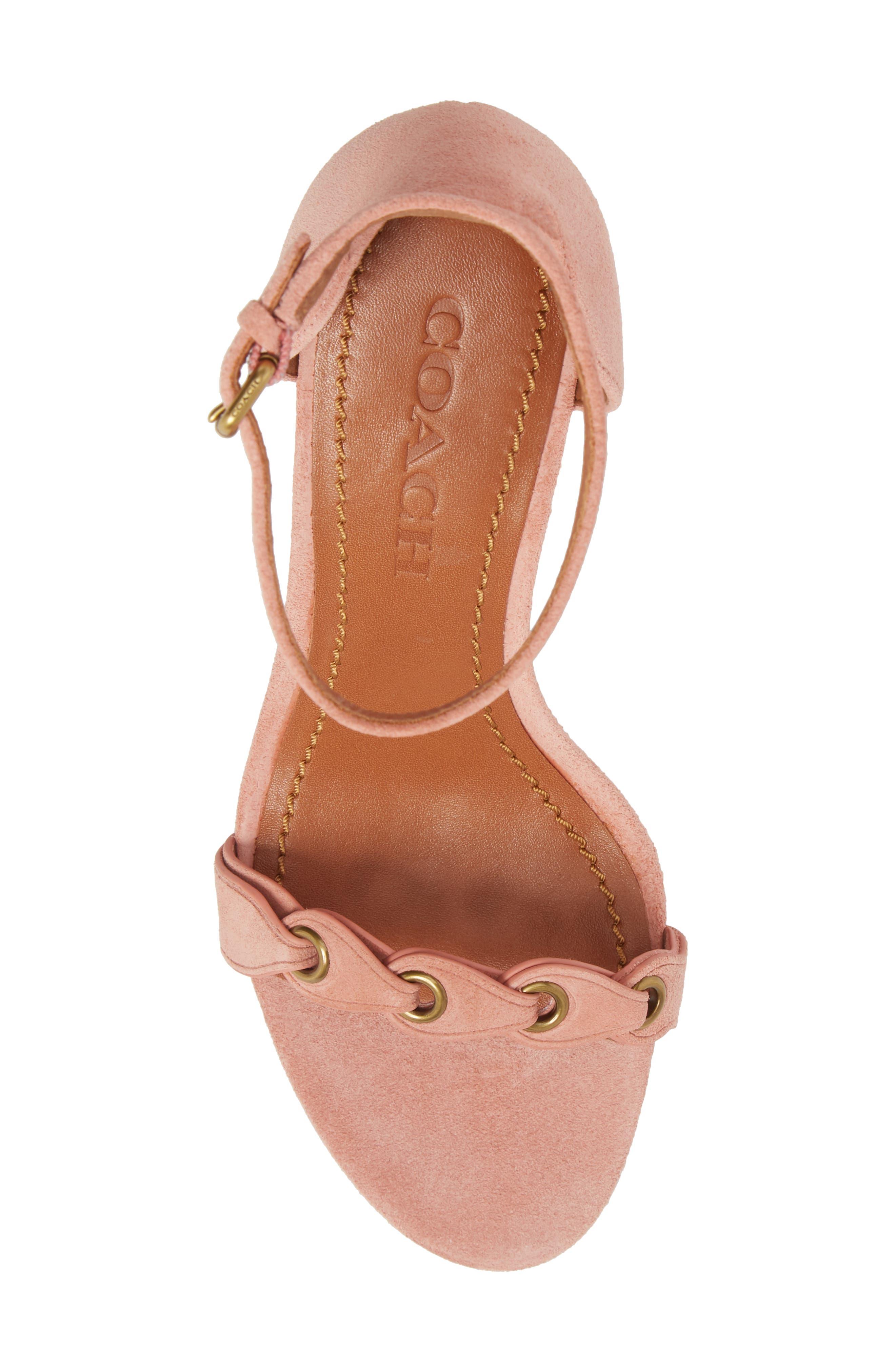 Link Strap Sandal,                             Alternate thumbnail 6, color,                             Peony Leather