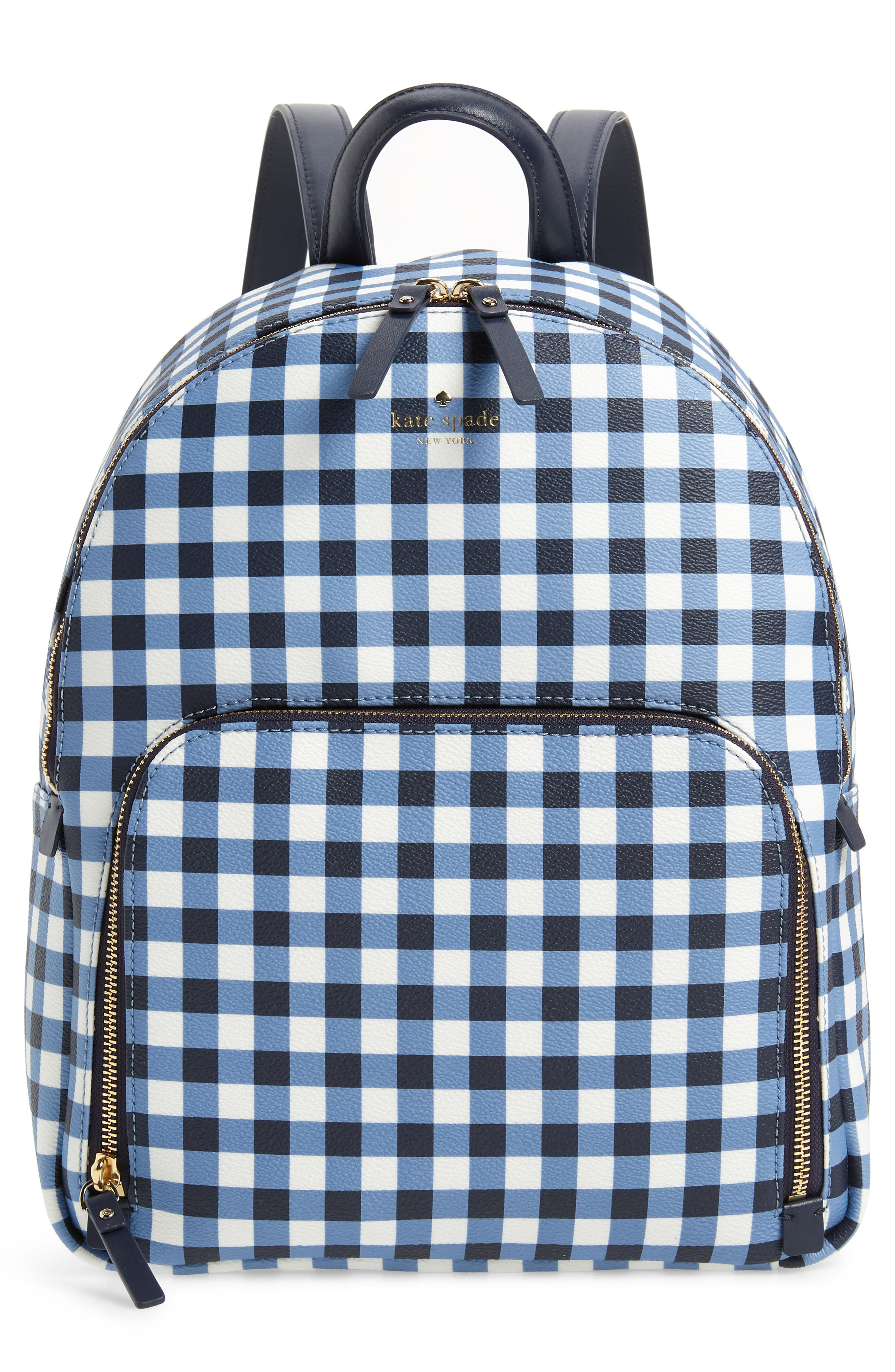 hyde lane hartley gingham backpack,                         Main,                         color, Navy/ White