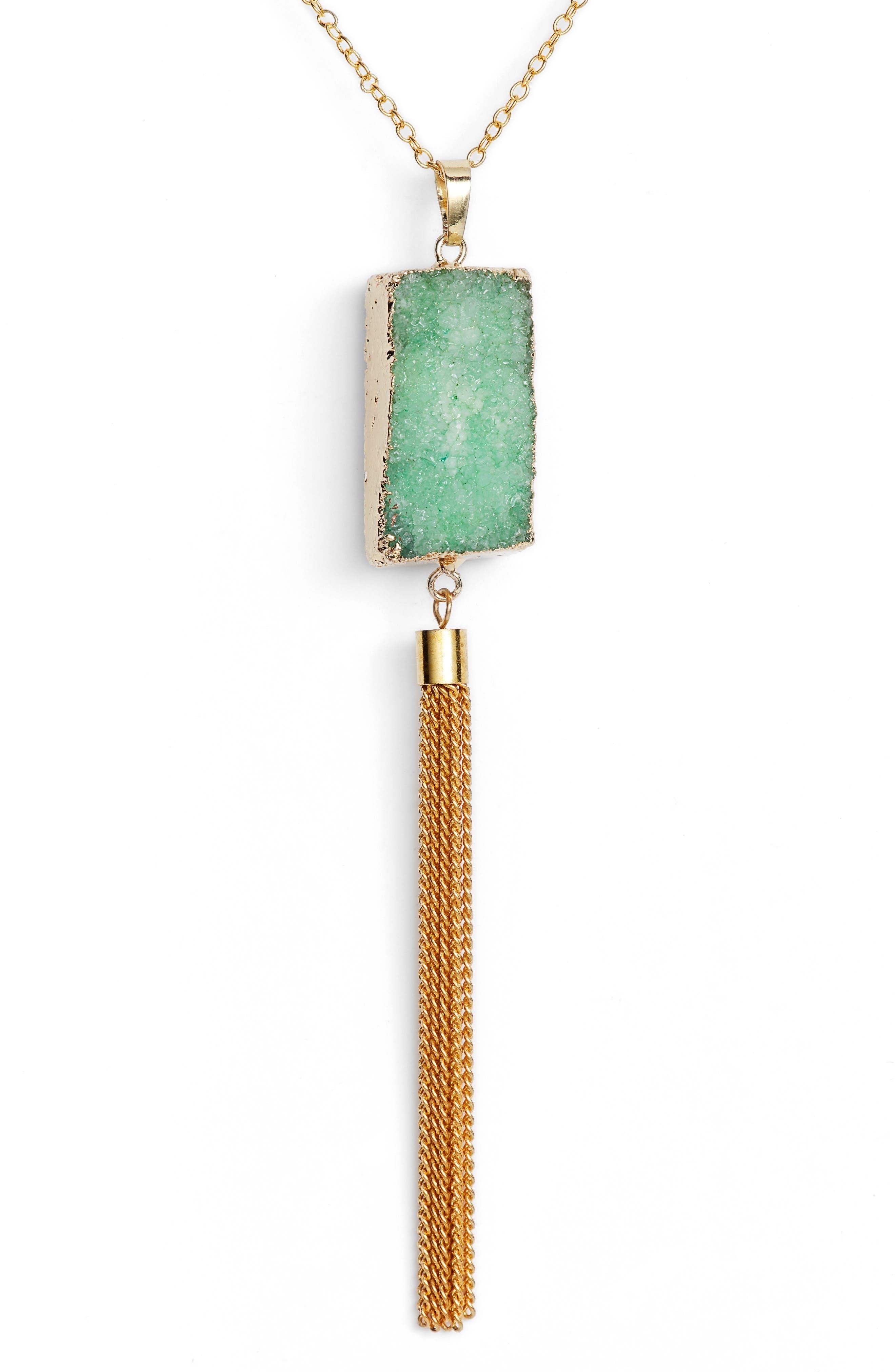 Carmela Drusy Pendant Necklace,                             Alternate thumbnail 2, color,                             Emerald