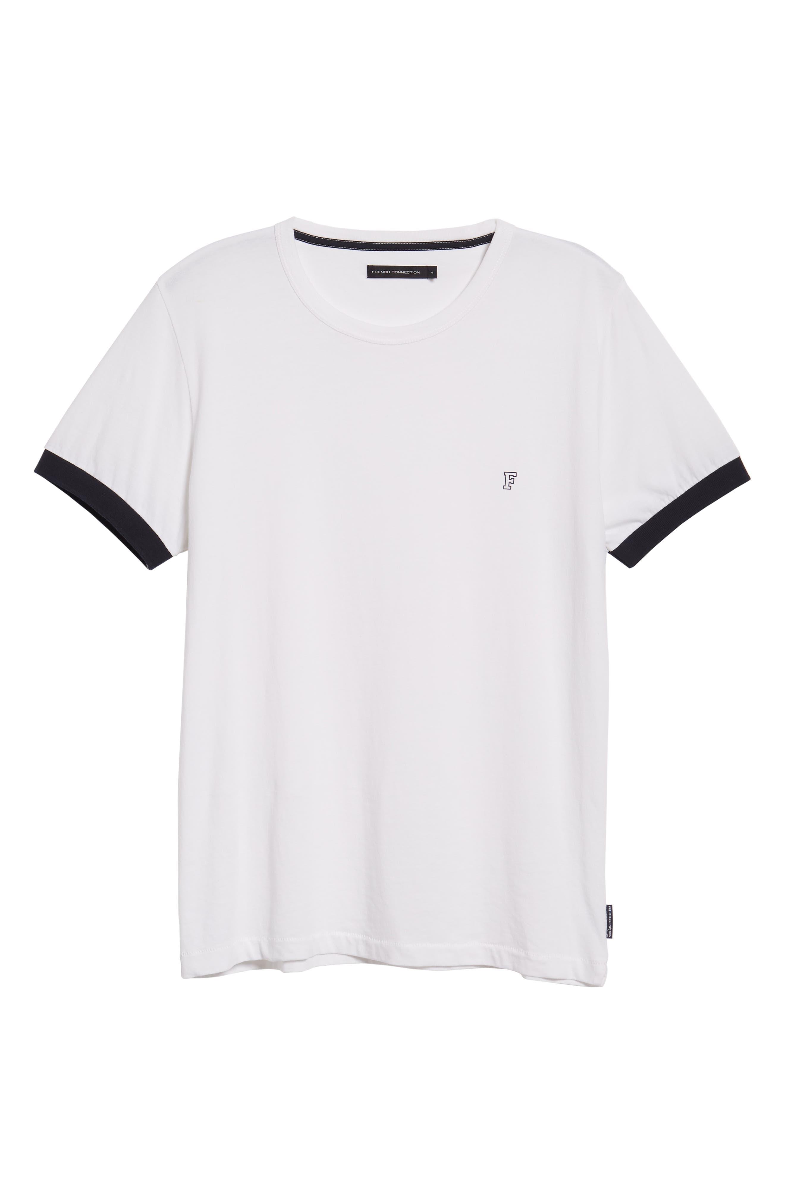 Summer Contrast Cuff T-Shirt,                             Alternate thumbnail 6, color,                             White Marine Blue