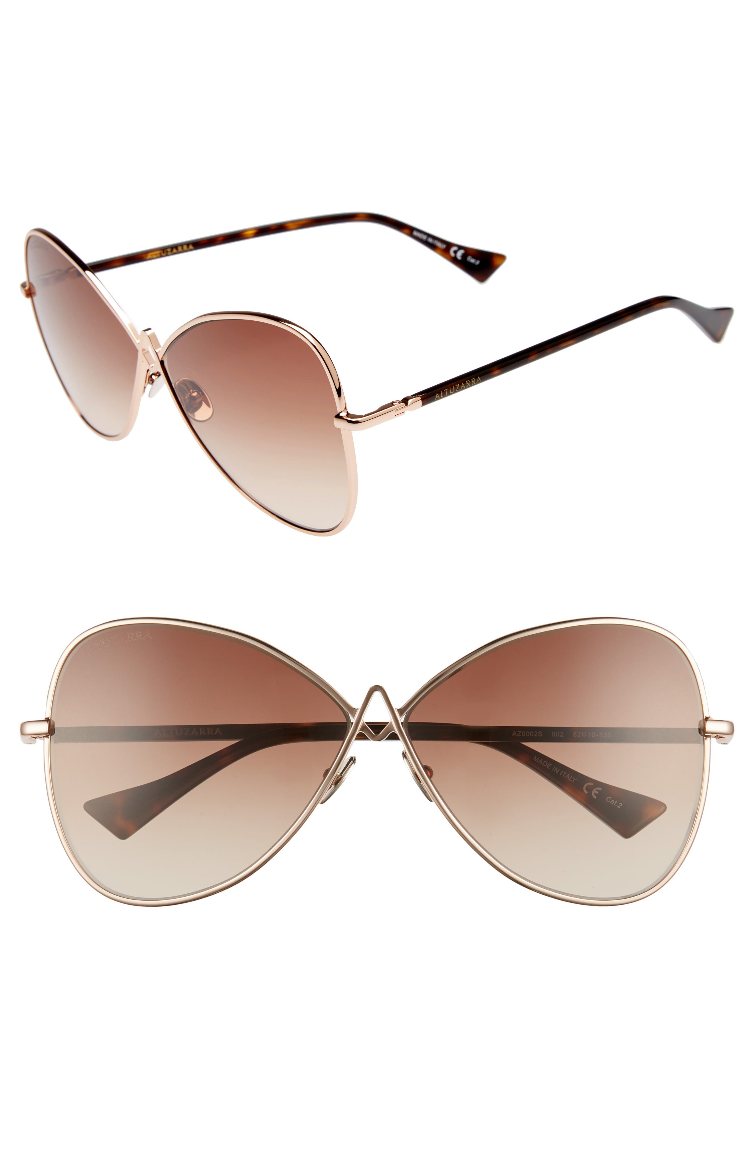 62mm Sunglasses,                             Main thumbnail 1, color,                             Rose Gold