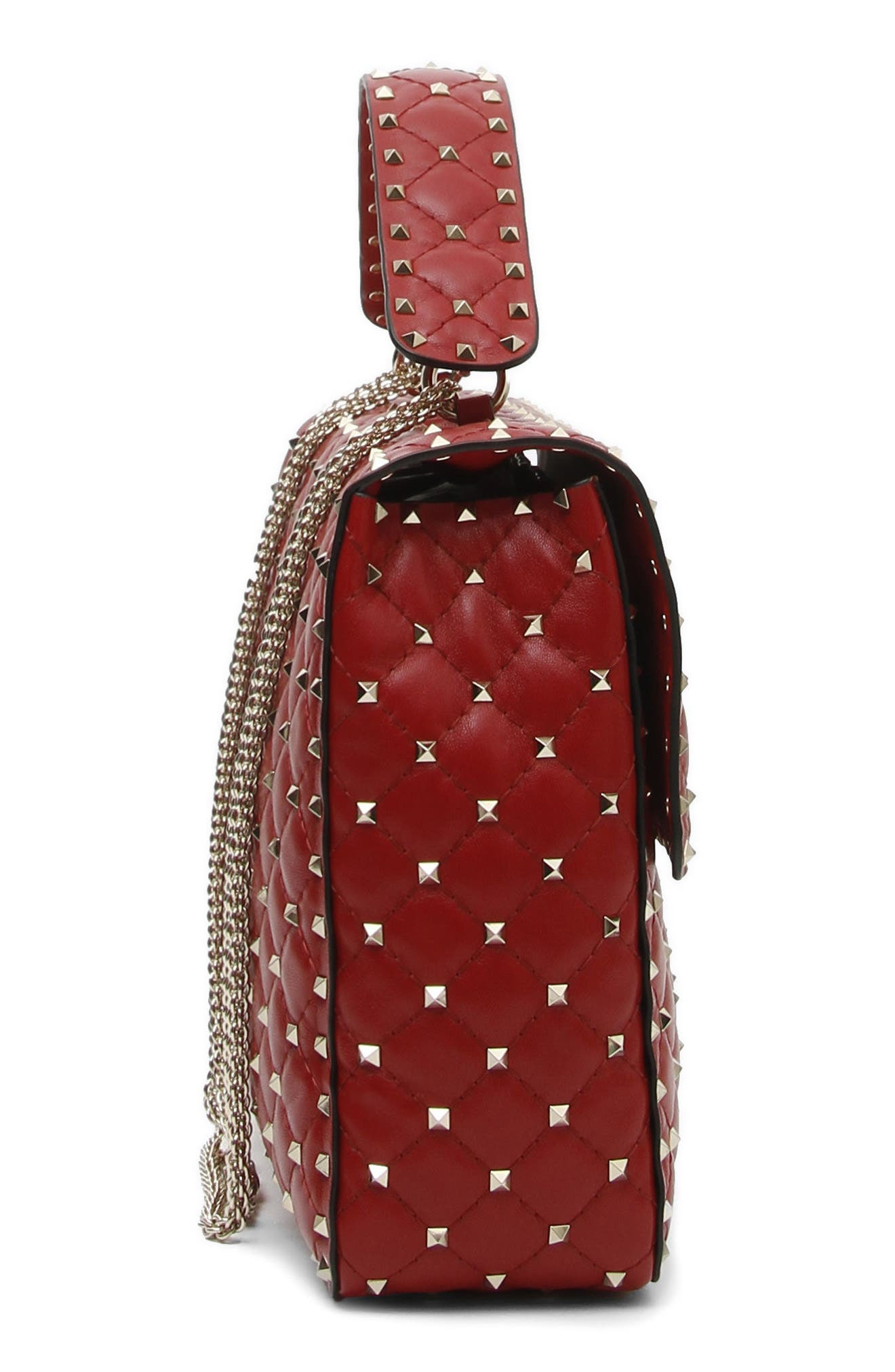 Rockstud Spike Maxi Shoulder Bag,                             Alternate thumbnail 3, color,                             Red