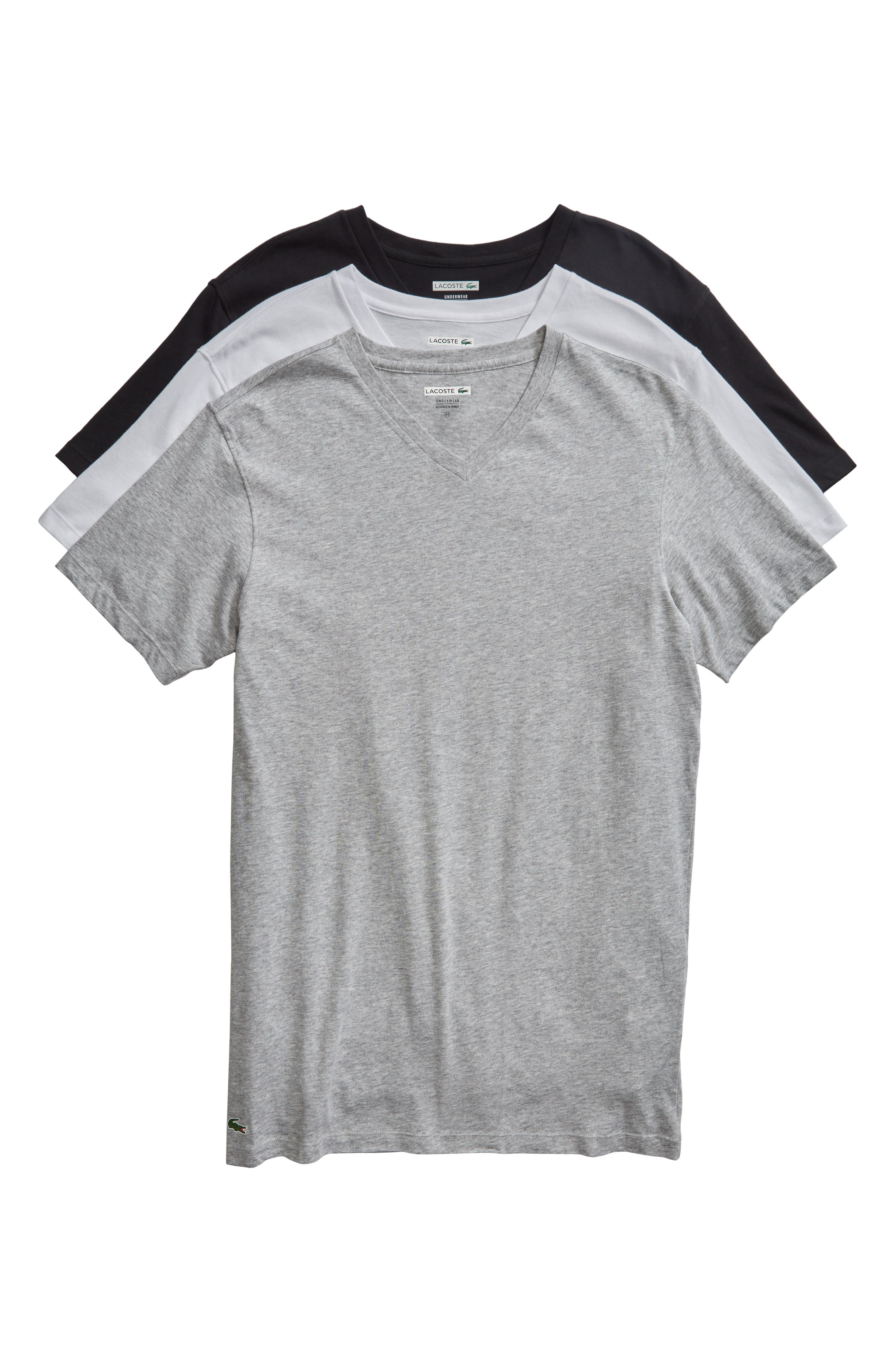 Assorted 3-Pack Supima<sup>®</sup> Cotton V-Neck T-Shirts,                         Main,                         color, Black/ Grey/ White