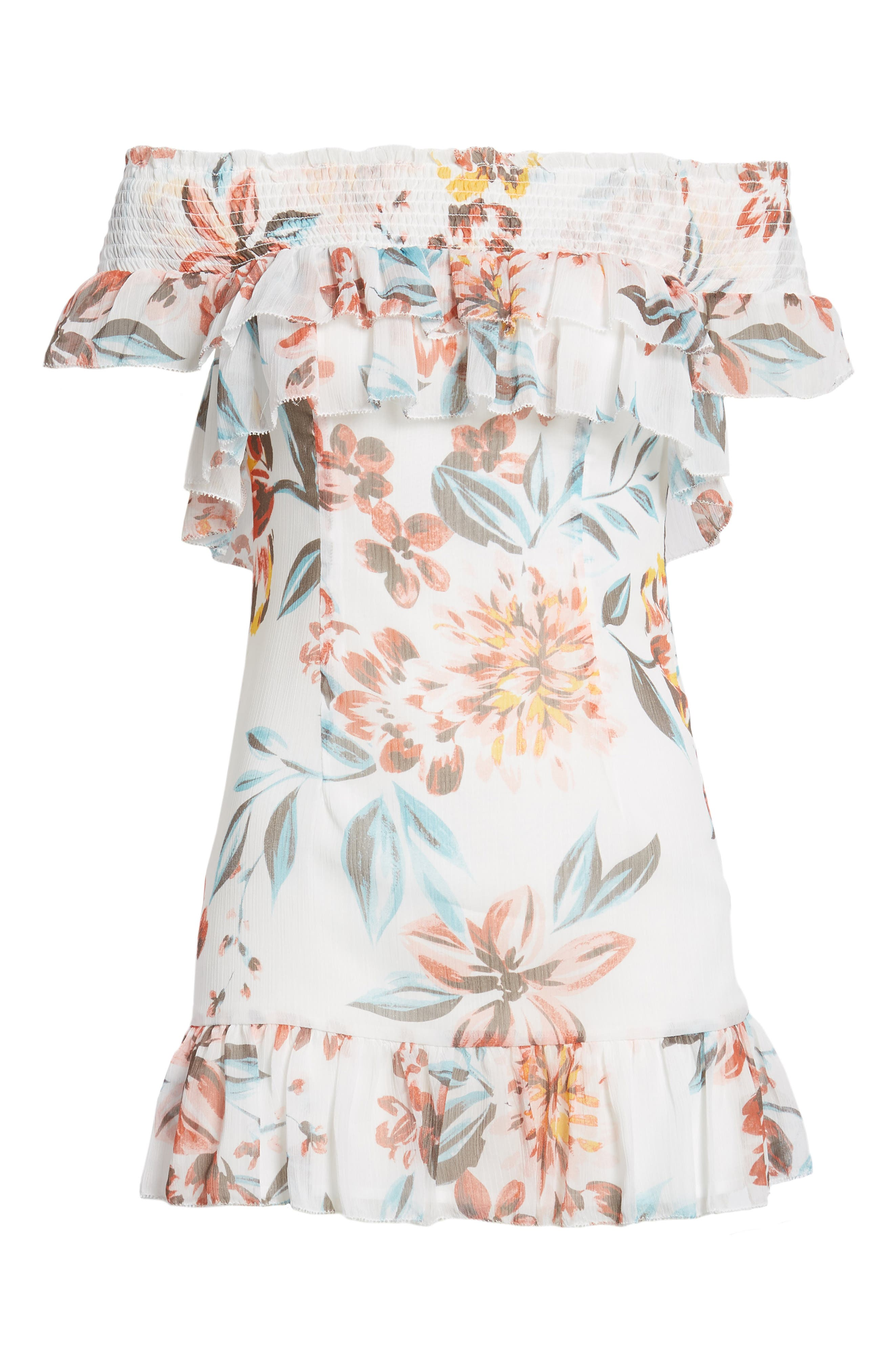 Lanzo Off the Shoulder Dress,                             Alternate thumbnail 6, color,                             Dahlia Floral