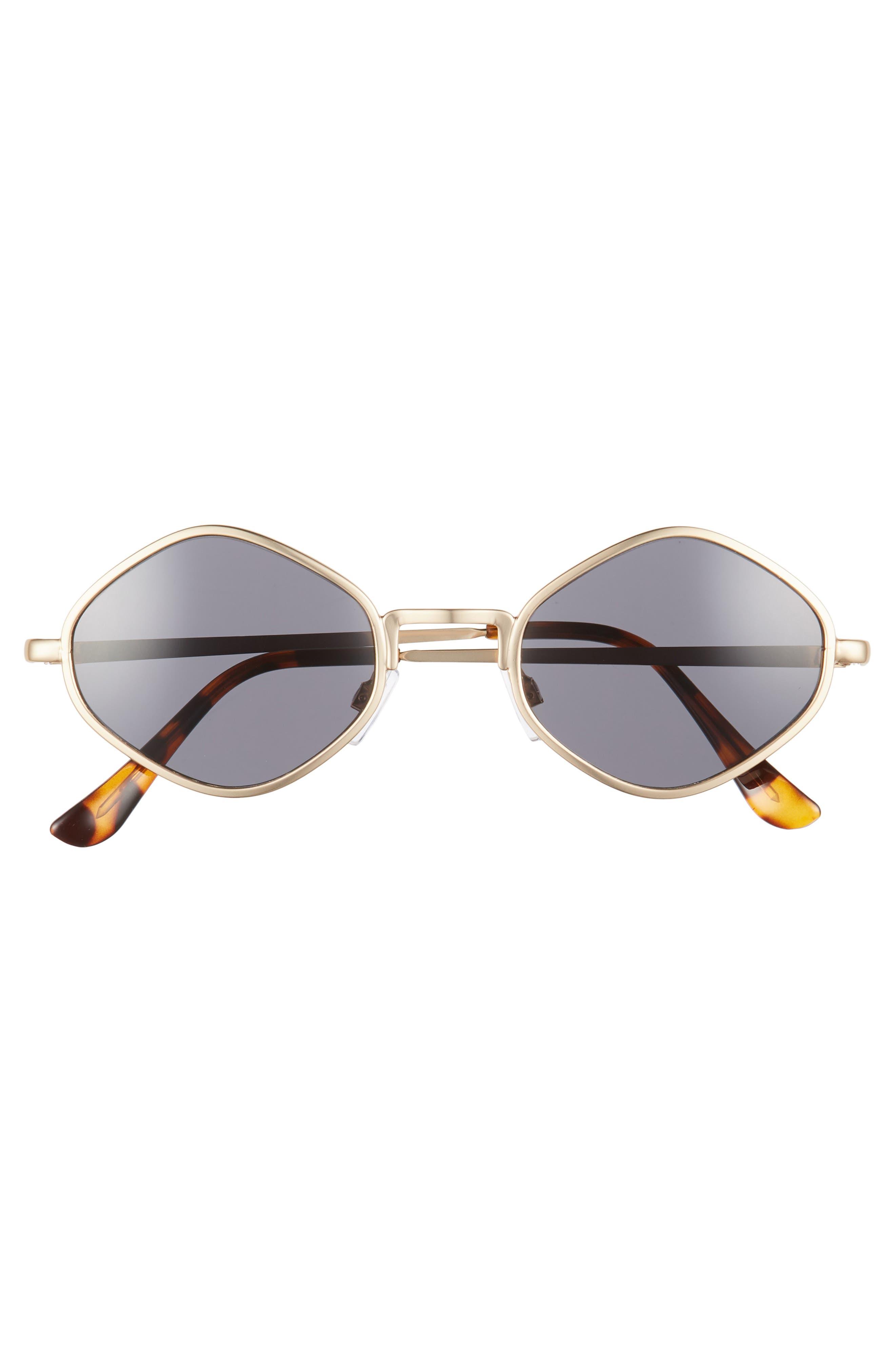 Geo Metal Sunglasses,                             Alternate thumbnail 3, color,                             Gold/ Tort