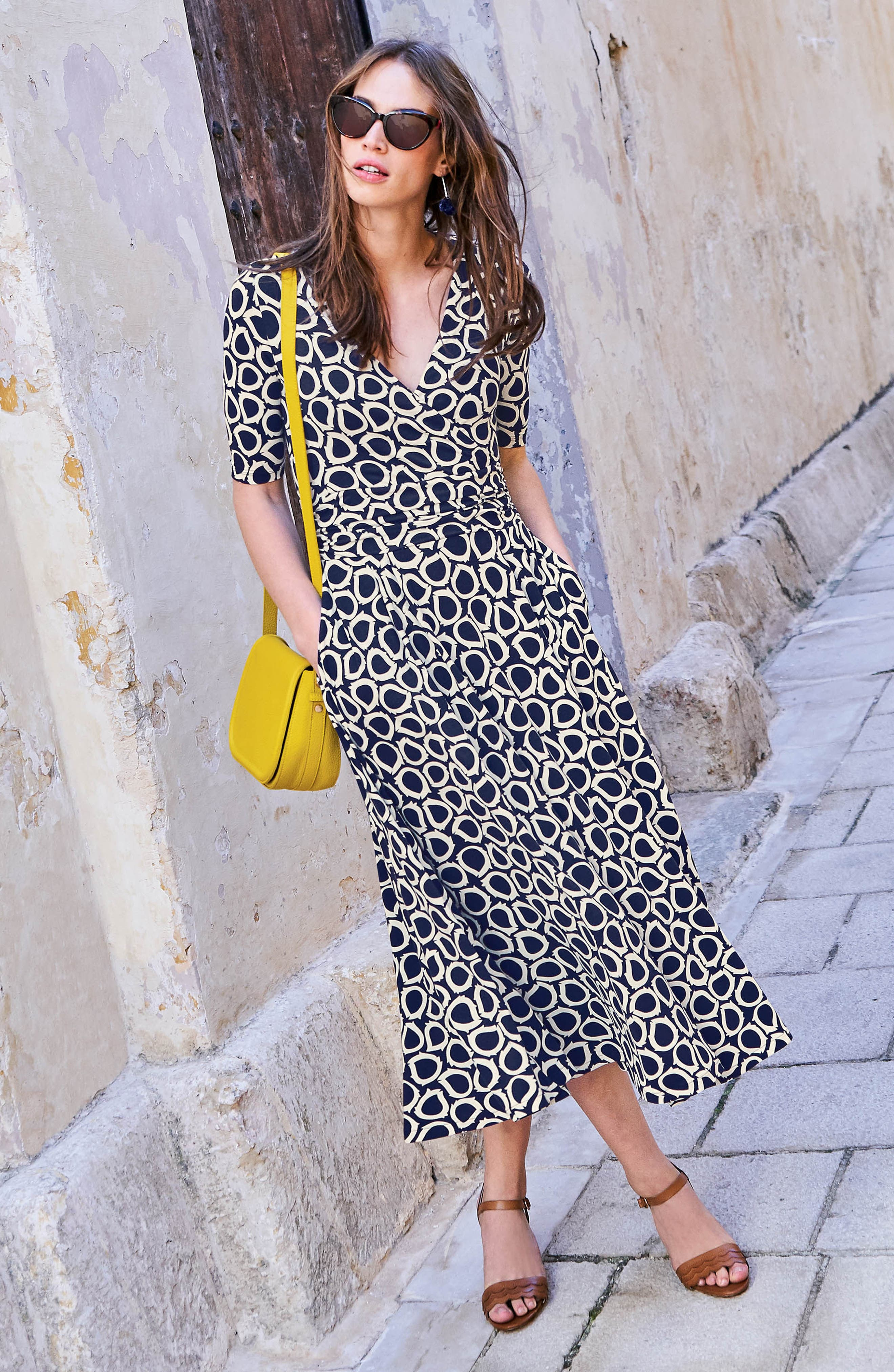 Kassidy Print Jersey Midi Dress,                             Alternate thumbnail 7, color,                             Navy Summer Leaves