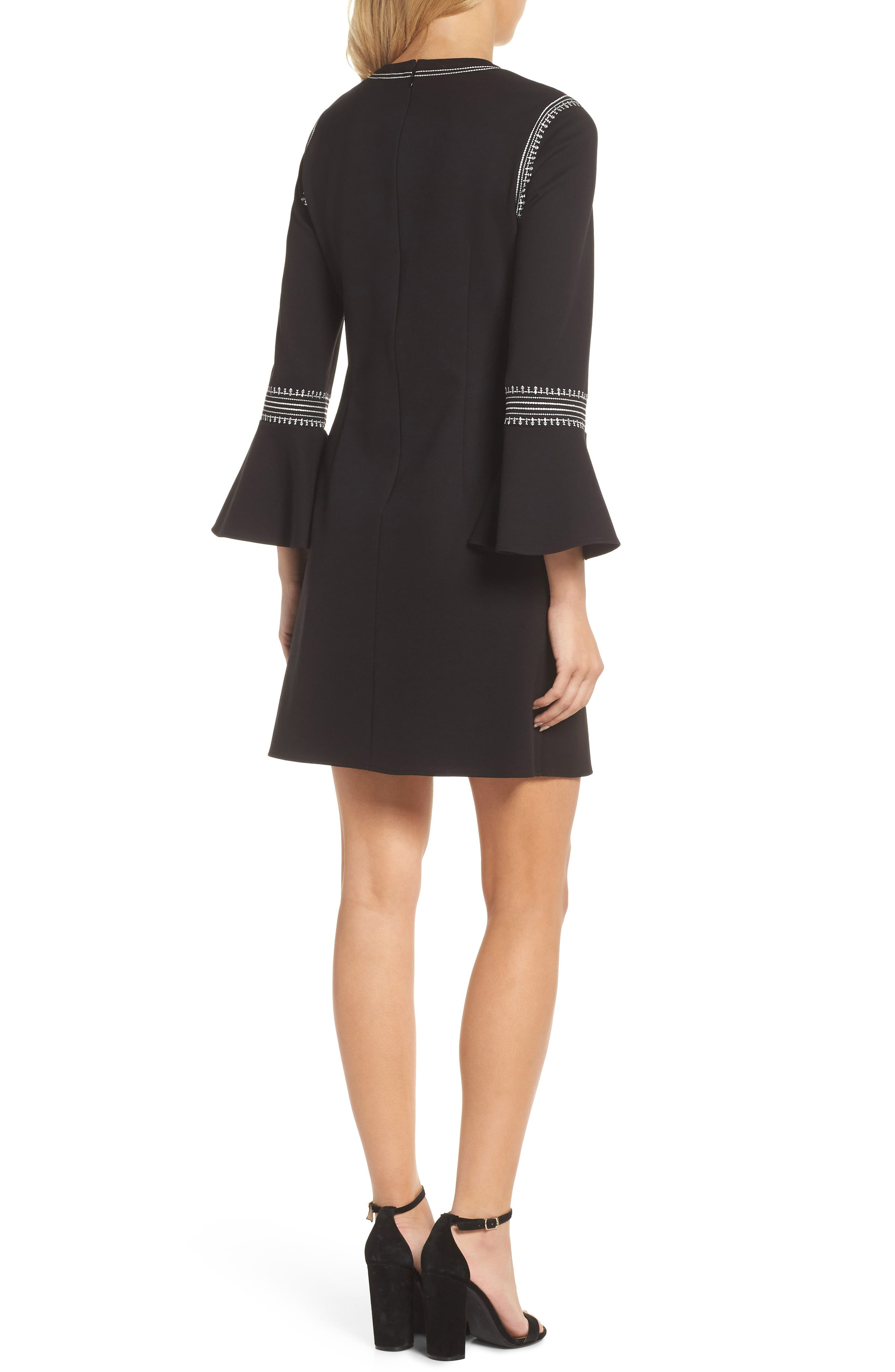 Danielle Embroidered Bell Sleeve Knit Dress,                             Alternate thumbnail 2, color,                             Black