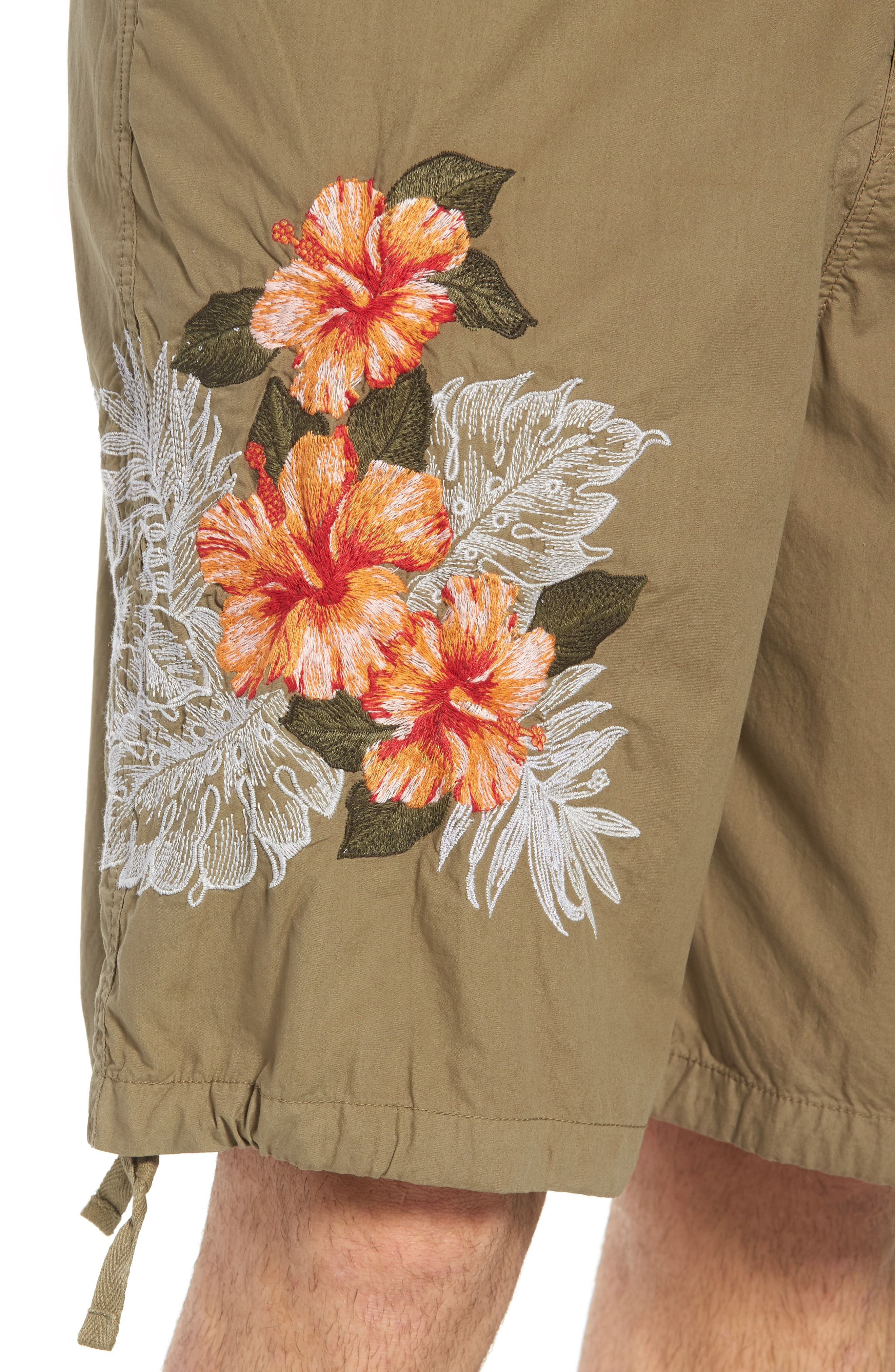Embroidered Poplin Shorts,                             Alternate thumbnail 4, color,                             Deep Lichen Green