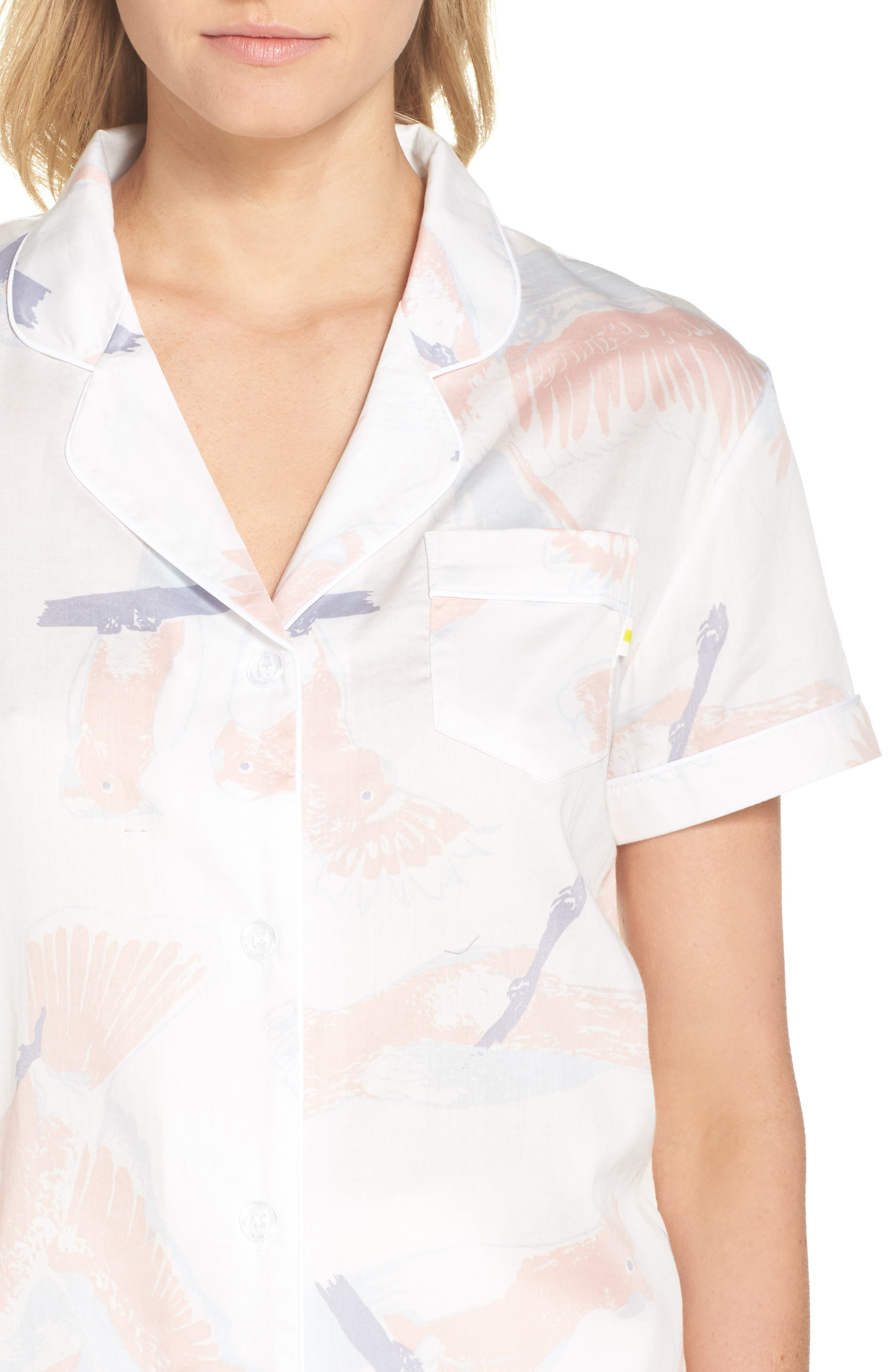 Cockatoos Short Pajamas,                             Alternate thumbnail 5, color,                             Cockatoos White