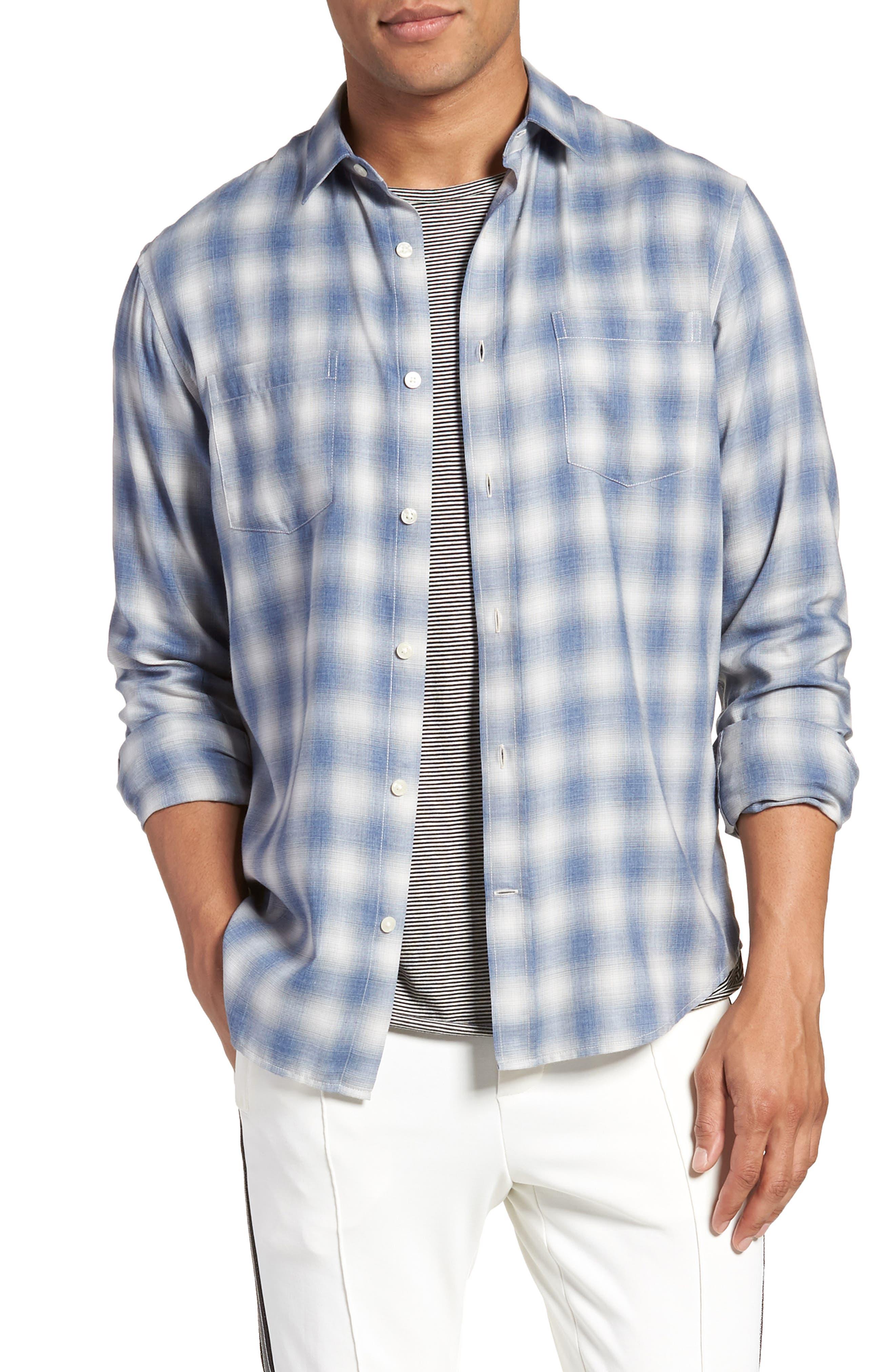 Shadow Slim Fit Plaid Sport Shirt,                             Main thumbnail 1, color,                             Spruce Blue
